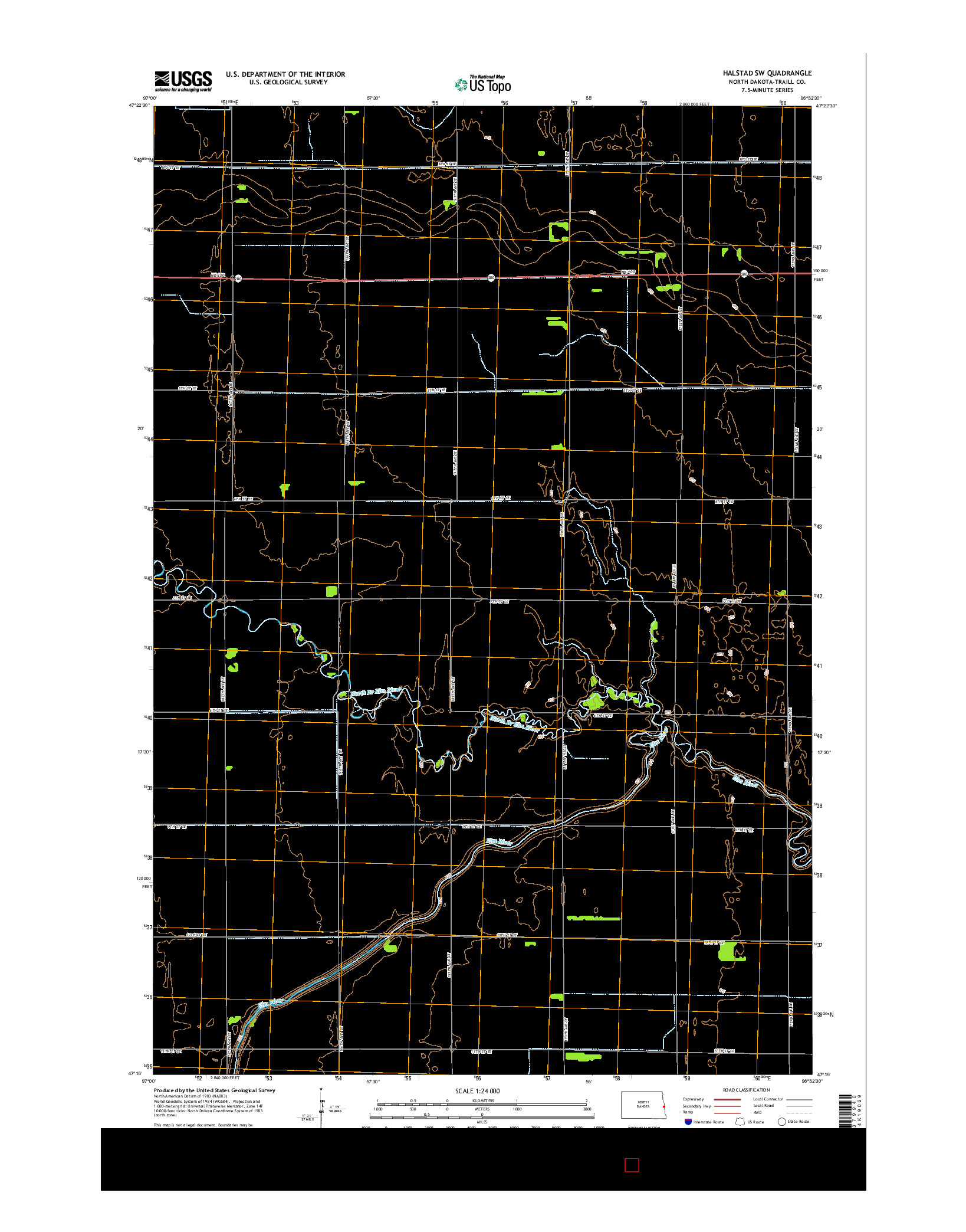 USGS US TOPO 7.5-MINUTE MAP FOR HALSTAD SW, ND 2014