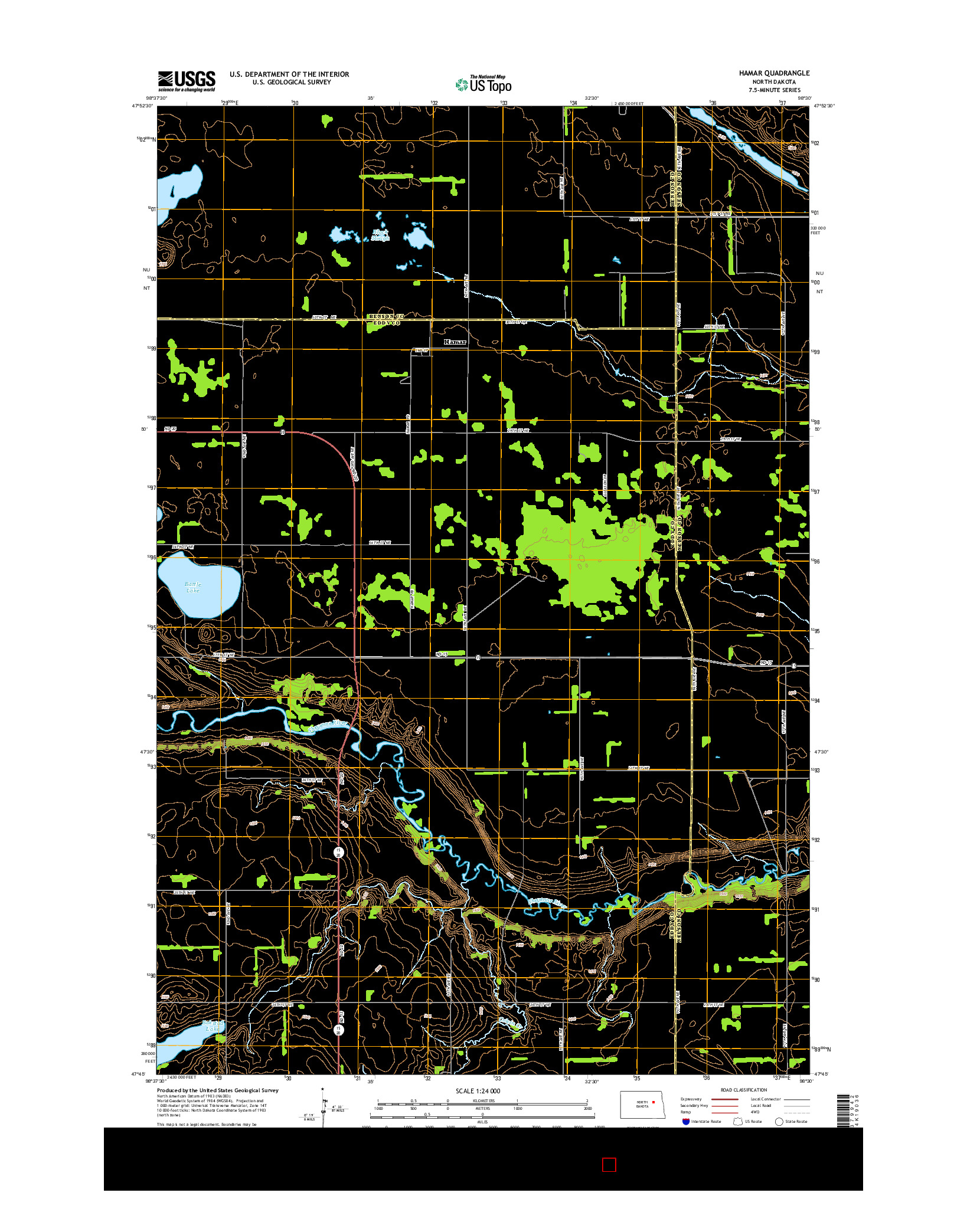 USGS US TOPO 7.5-MINUTE MAP FOR HAMAR, ND 2014