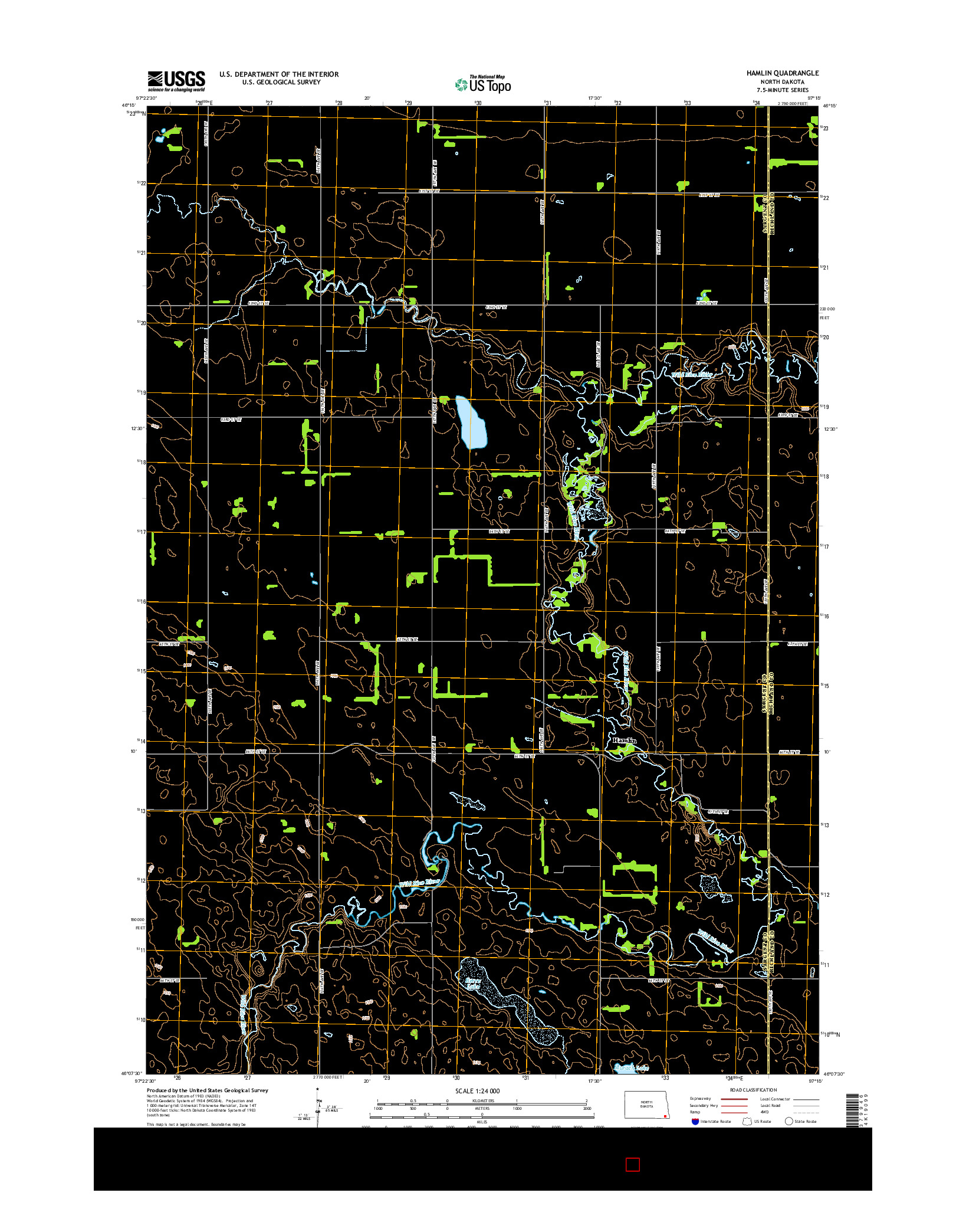 USGS US TOPO 7.5-MINUTE MAP FOR HAMLIN, ND 2014