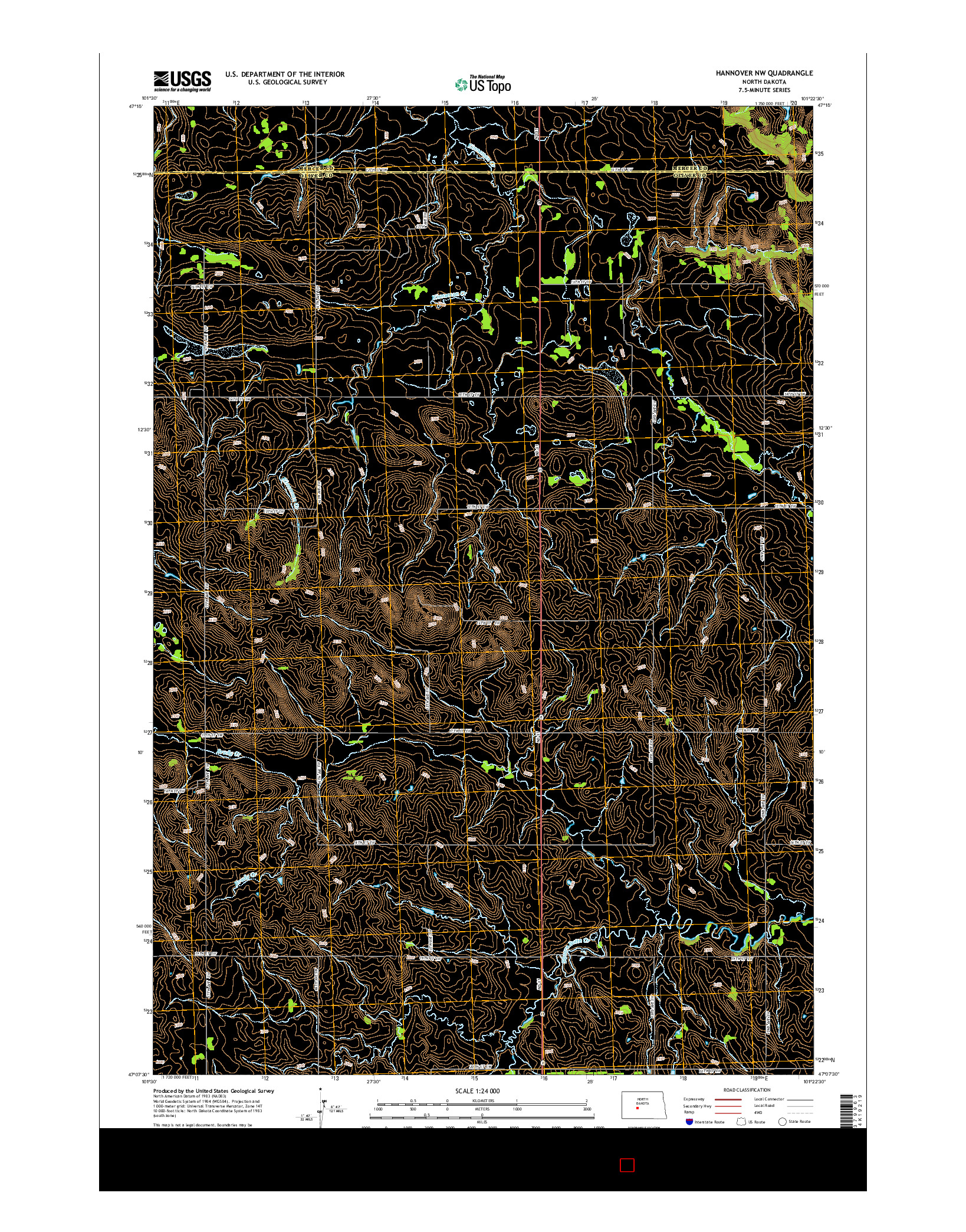 USGS US TOPO 7.5-MINUTE MAP FOR HANNOVER NW, ND 2014