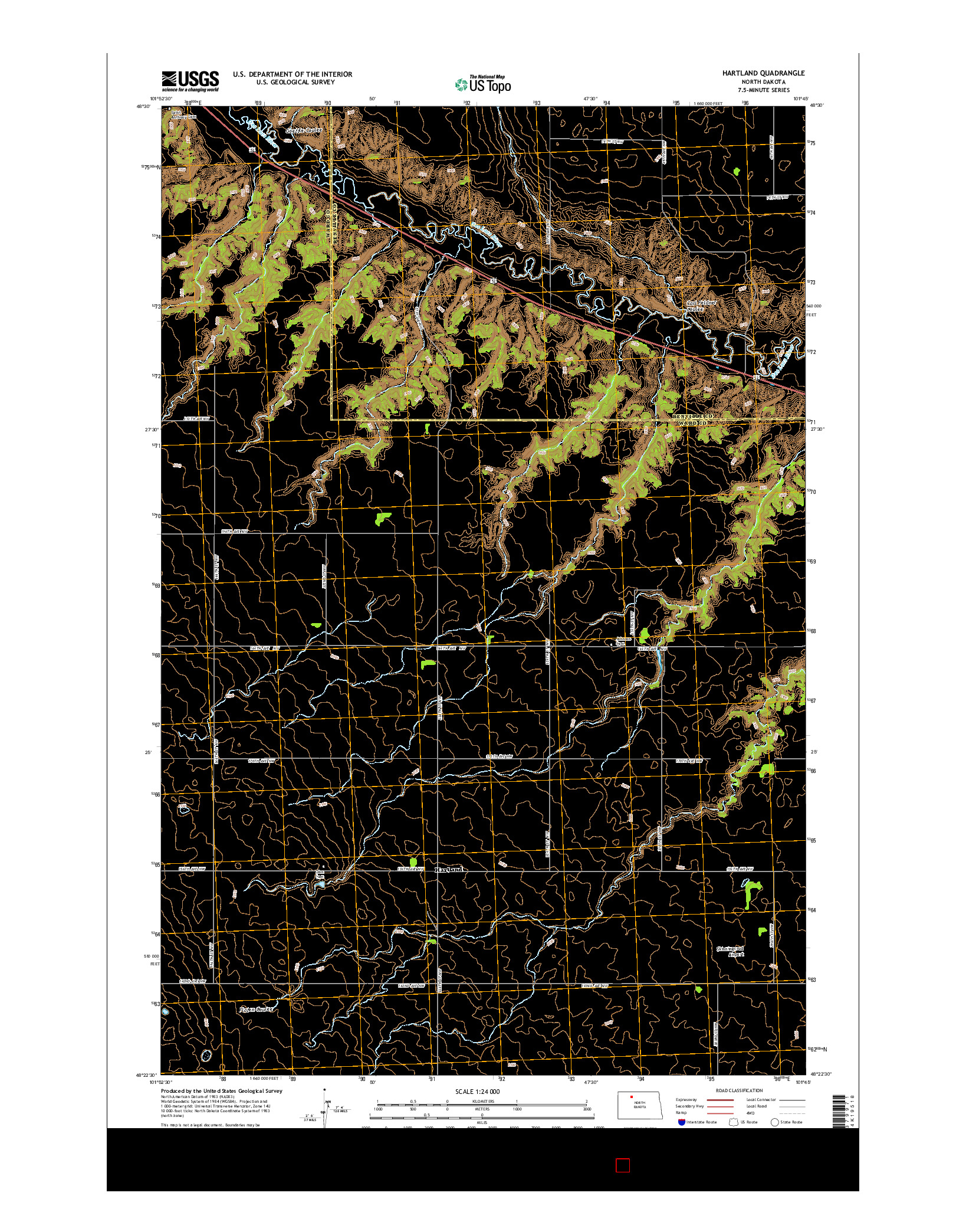 USGS US TOPO 7.5-MINUTE MAP FOR HARTLAND, ND 2014