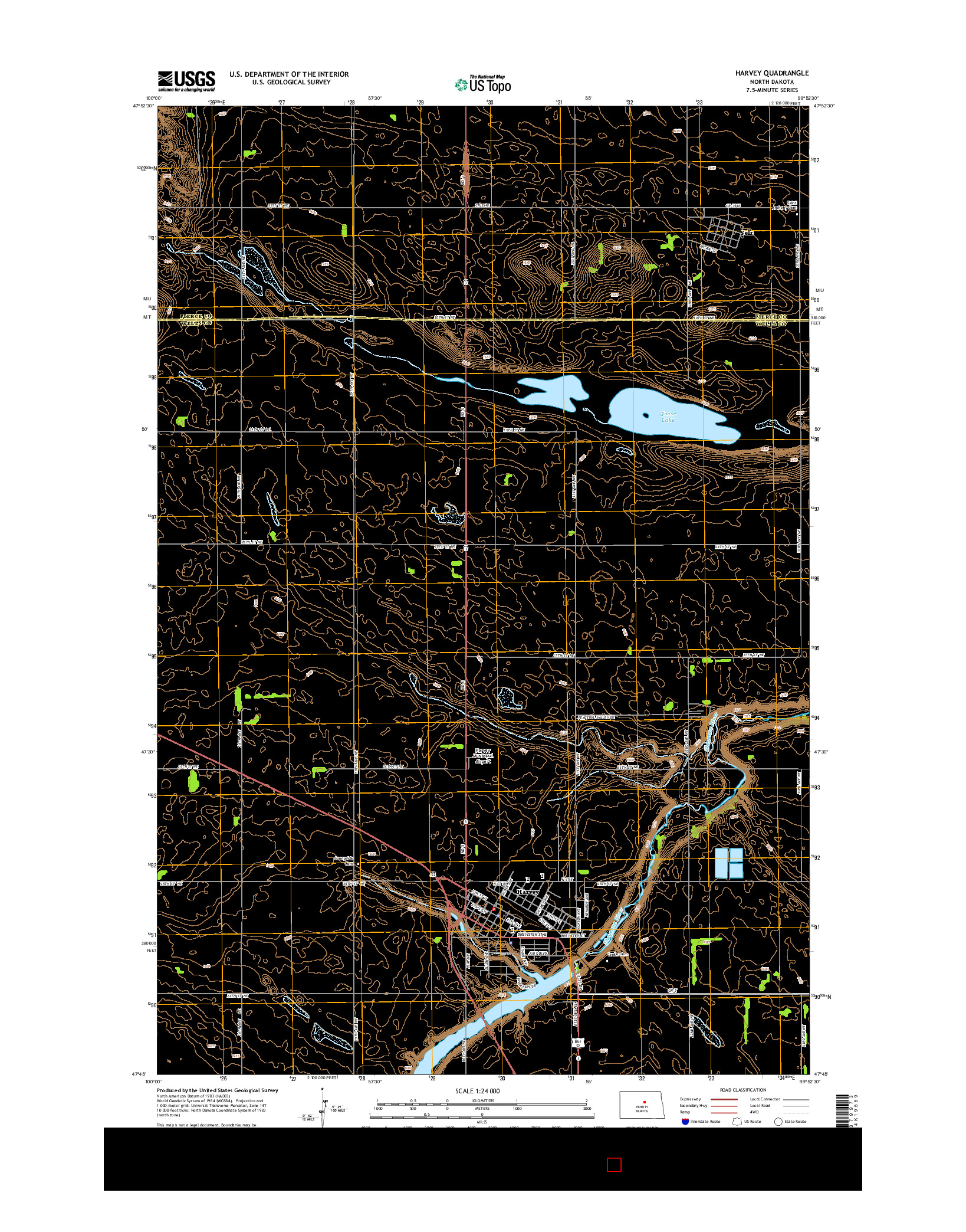 USGS US TOPO 7.5-MINUTE MAP FOR HARVEY, ND 2014