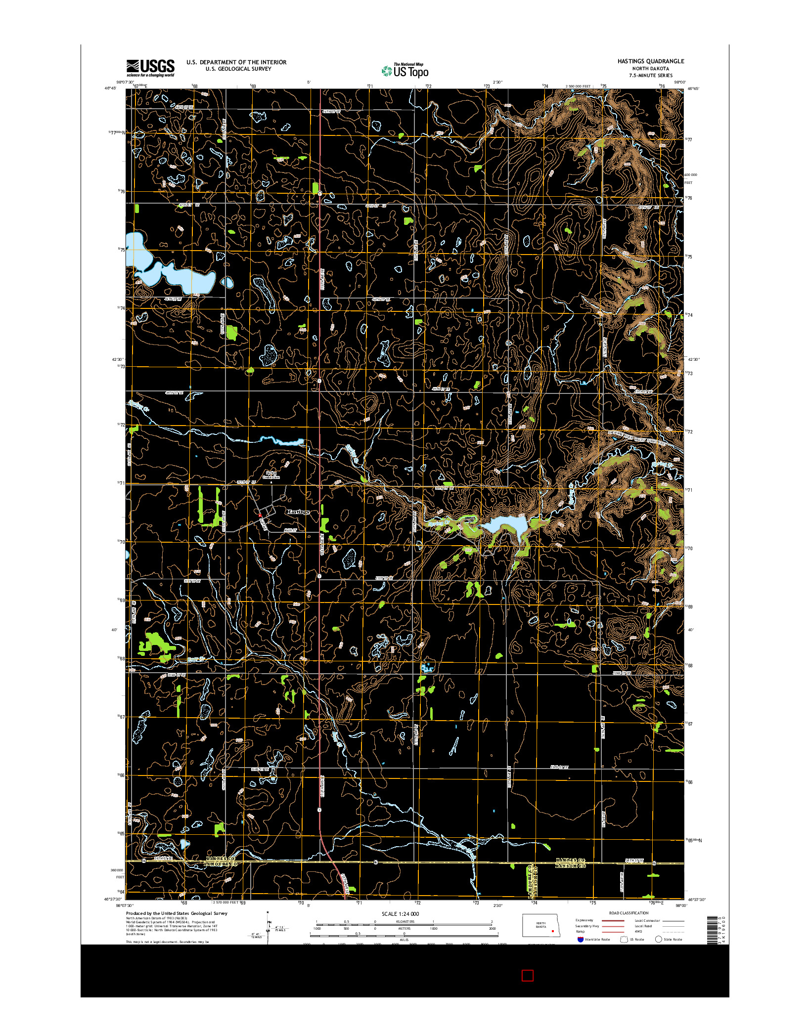 USGS US TOPO 7.5-MINUTE MAP FOR HASTINGS, ND 2014