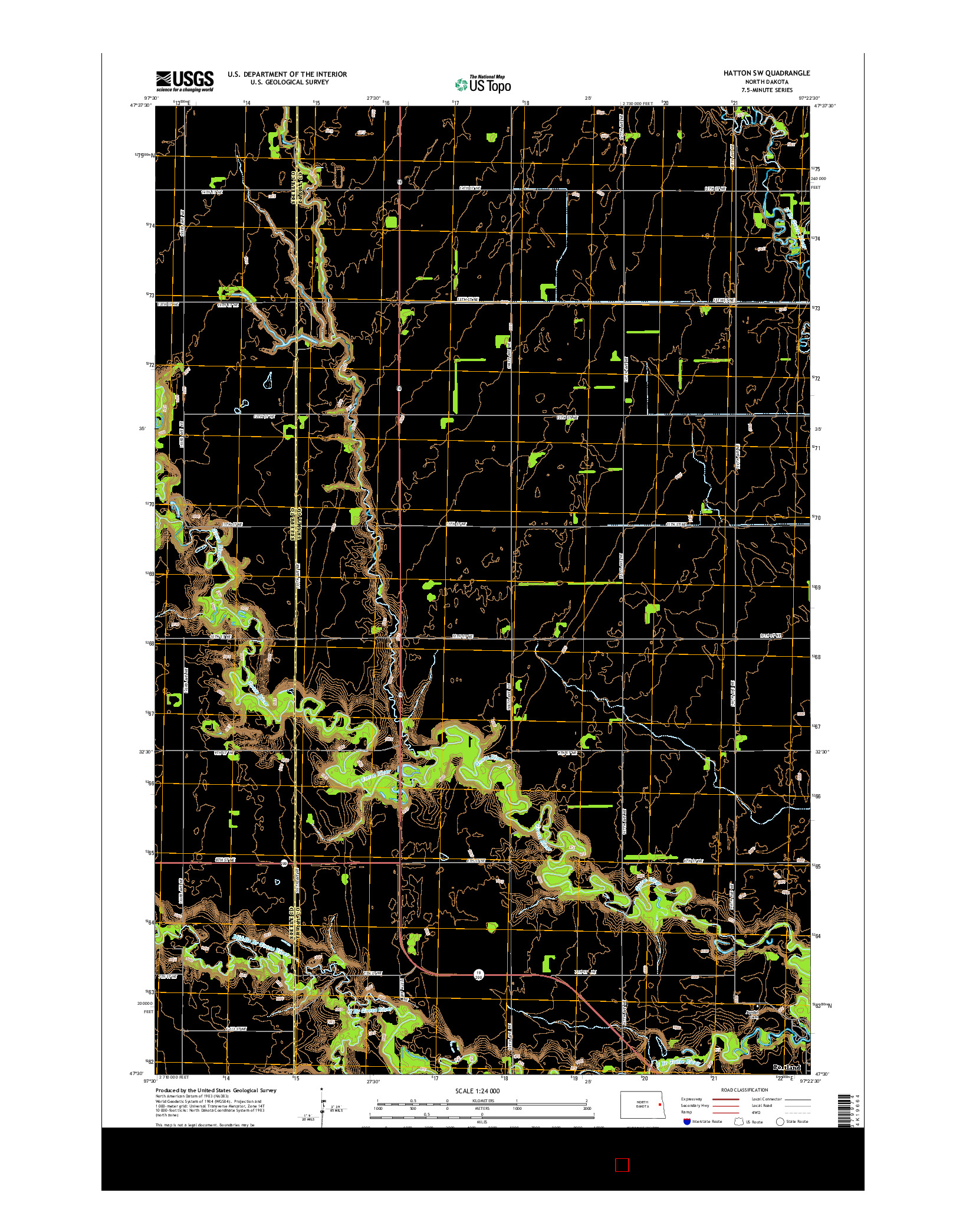 USGS US TOPO 7.5-MINUTE MAP FOR HATTON SW, ND 2014