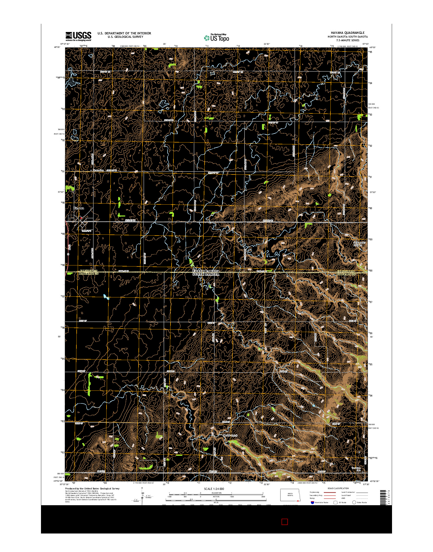 USGS US TOPO 7.5-MINUTE MAP FOR HAVANA, ND-SD 2014