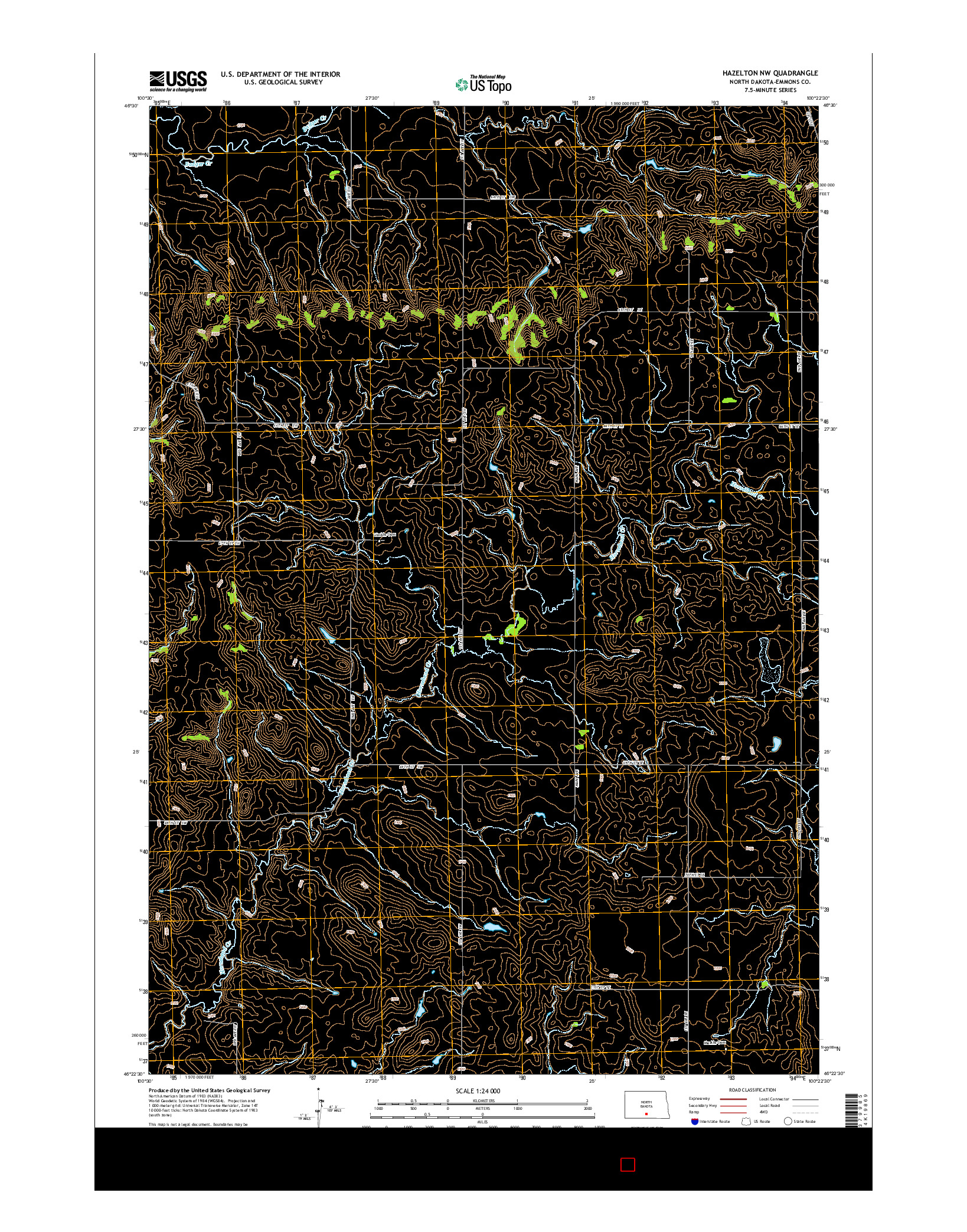 USGS US TOPO 7.5-MINUTE MAP FOR HAZELTON NW, ND 2014