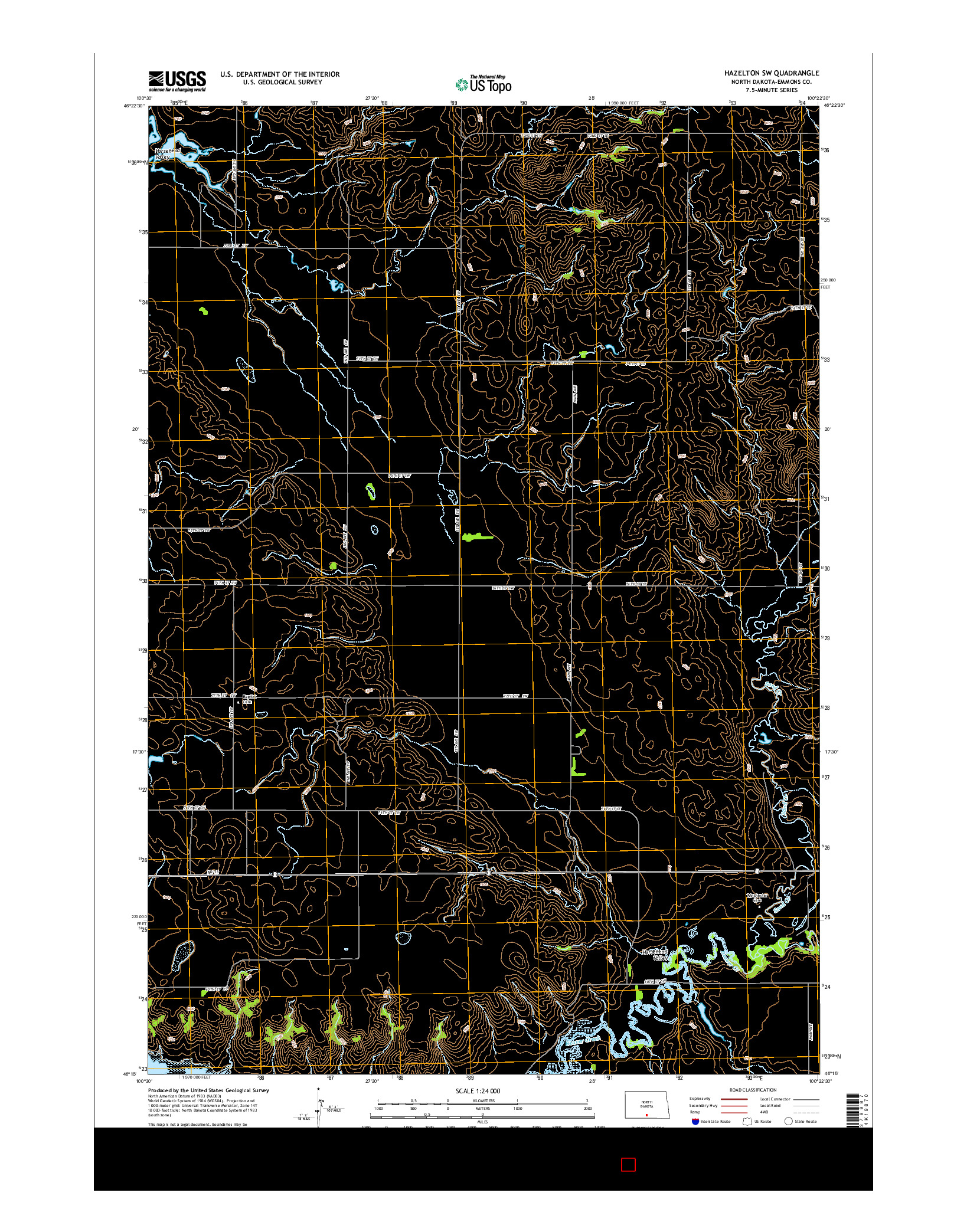 USGS US TOPO 7.5-MINUTE MAP FOR HAZELTON SW, ND 2014