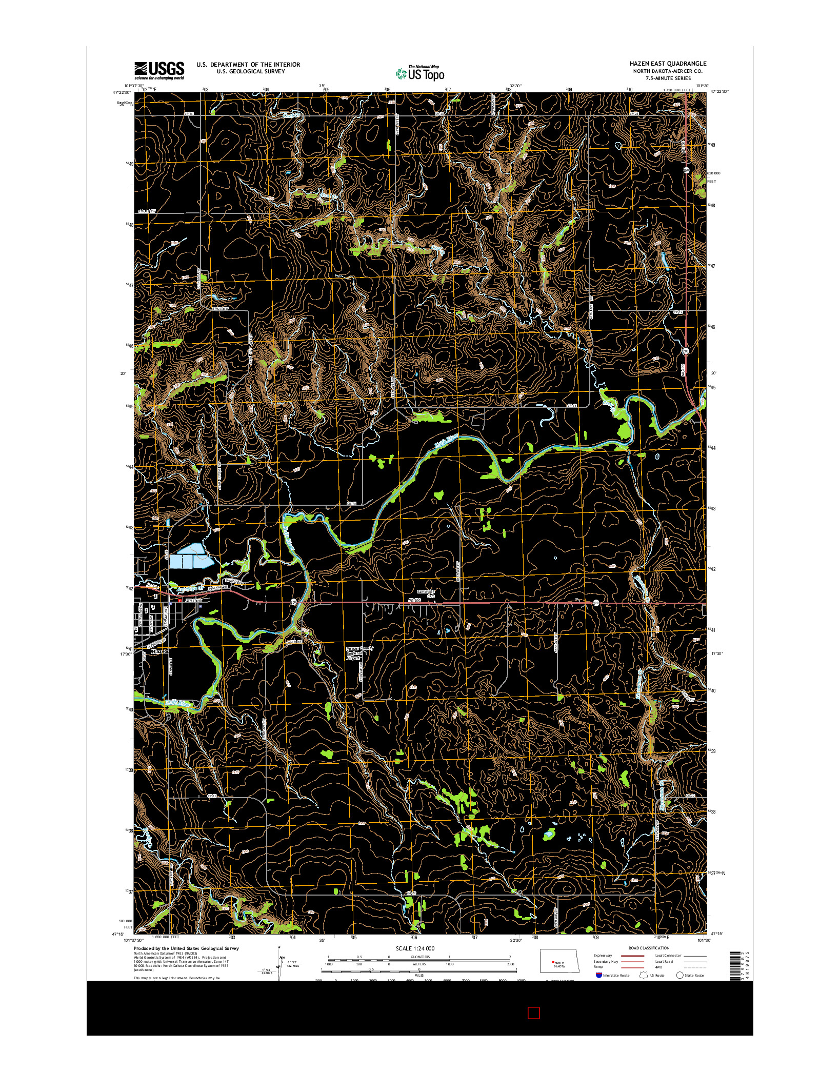 USGS US TOPO 7.5-MINUTE MAP FOR HAZEN EAST, ND 2014
