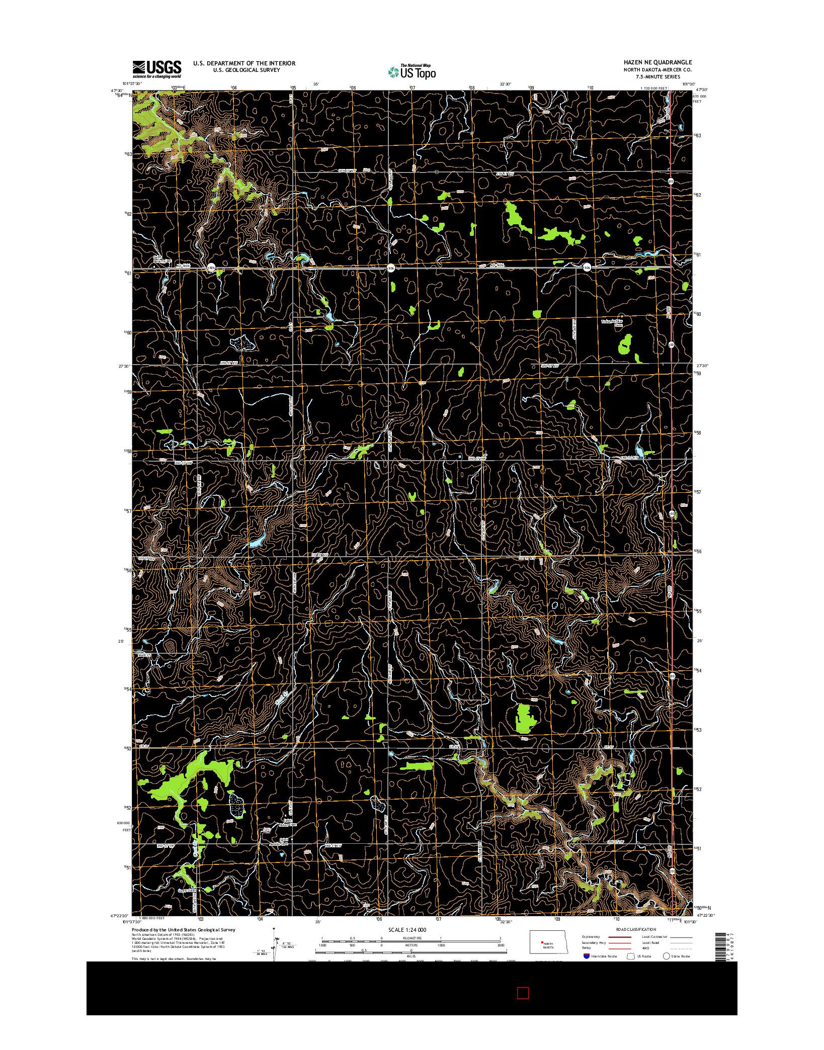 USGS US TOPO 7.5-MINUTE MAP FOR HAZEN NE, ND 2014