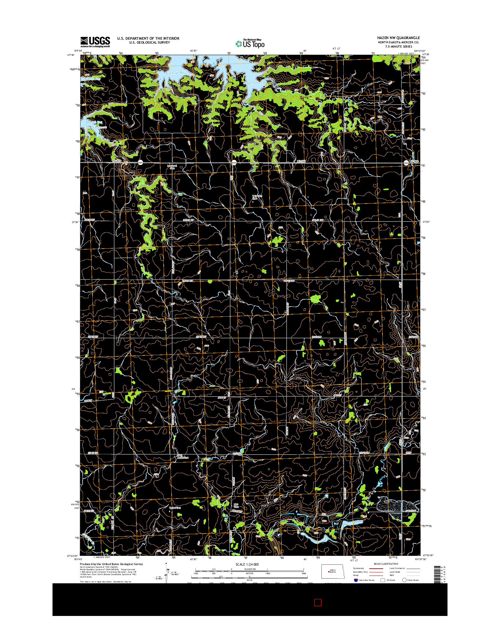 USGS US TOPO 7.5-MINUTE MAP FOR HAZEN NW, ND 2014