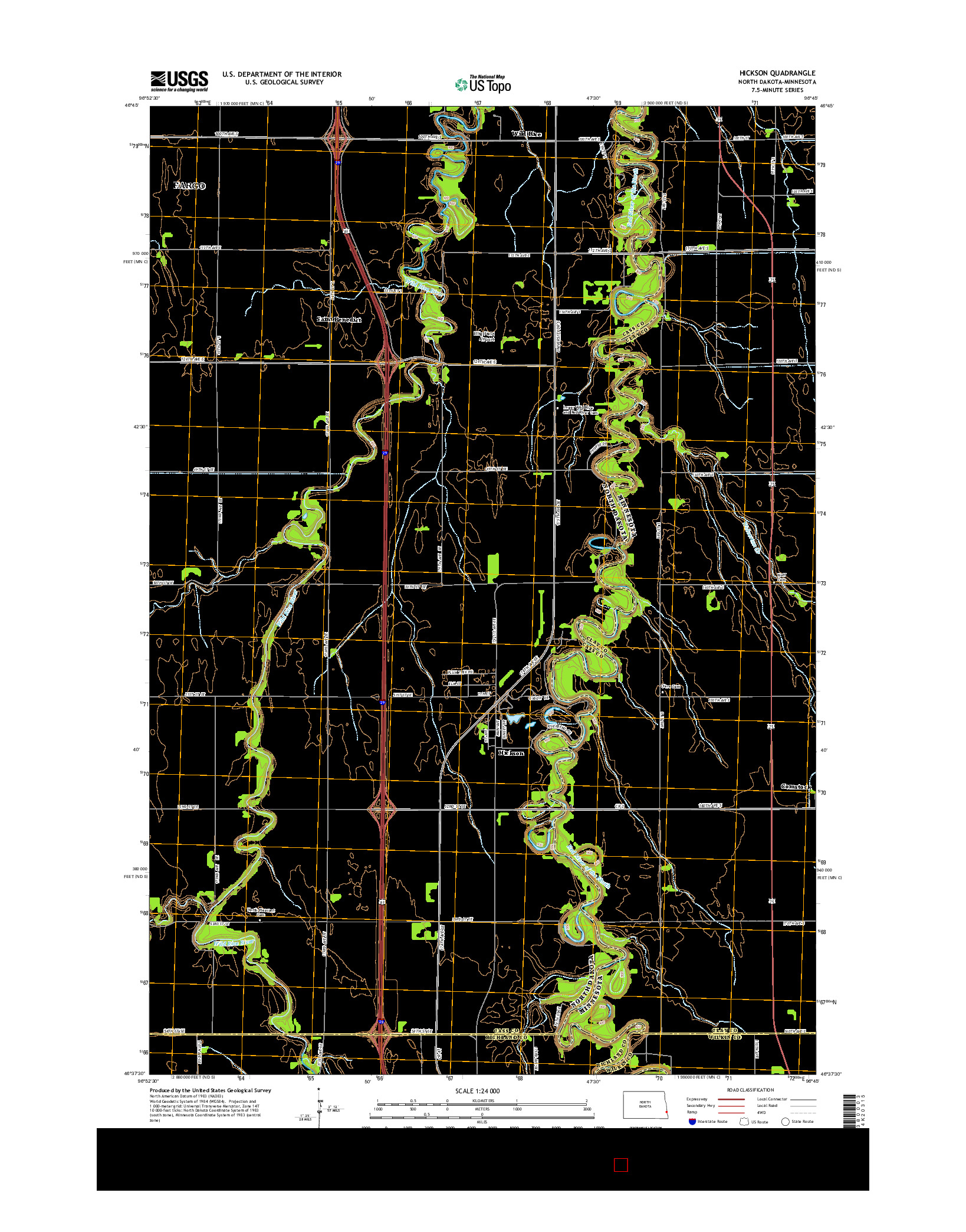 USGS US TOPO 7.5-MINUTE MAP FOR HICKSON, ND-MN 2014