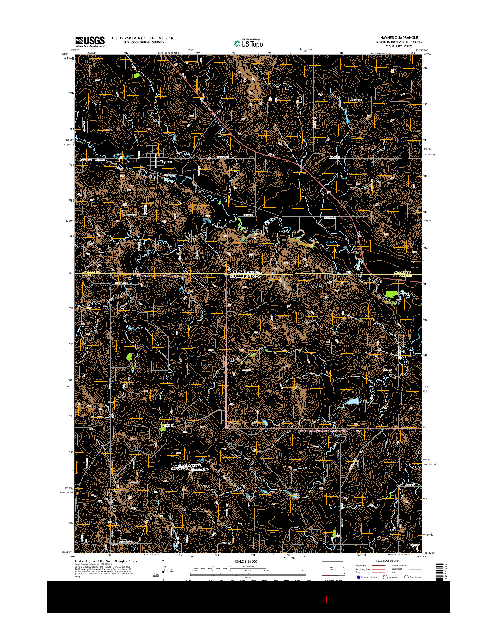 USGS US TOPO 7.5-MINUTE MAP FOR HAYNES, ND-SD 2014