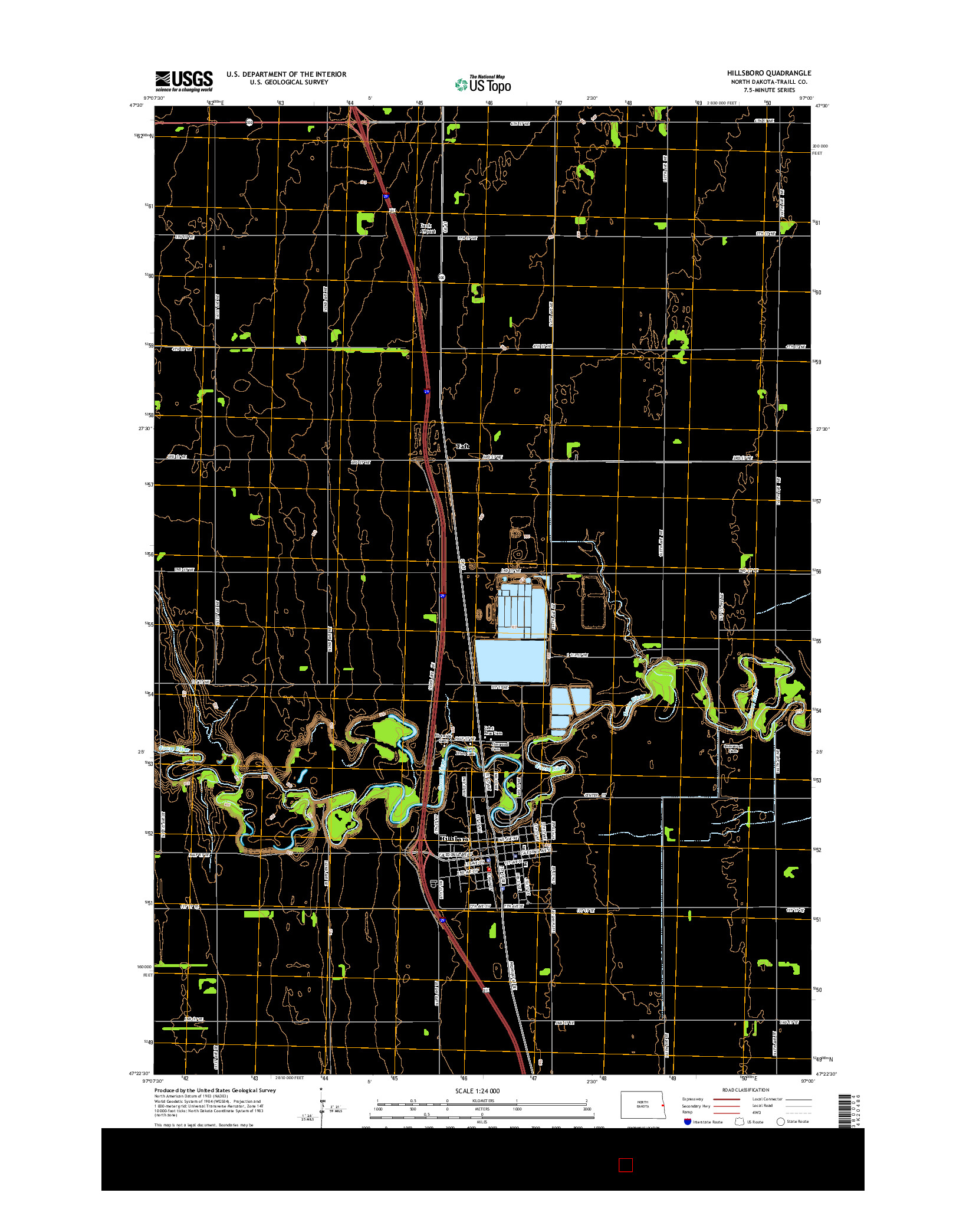 USGS US TOPO 7.5-MINUTE MAP FOR HILLSBORO, ND 2014