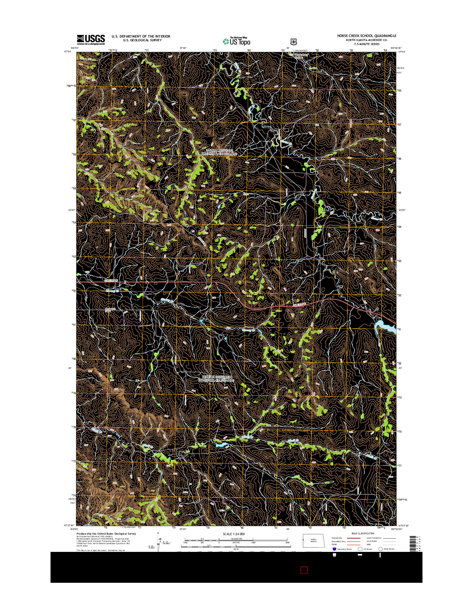 USGS US TOPO 7.5-MINUTE MAP FOR HORSE CREEK SCHOOL, ND 2014