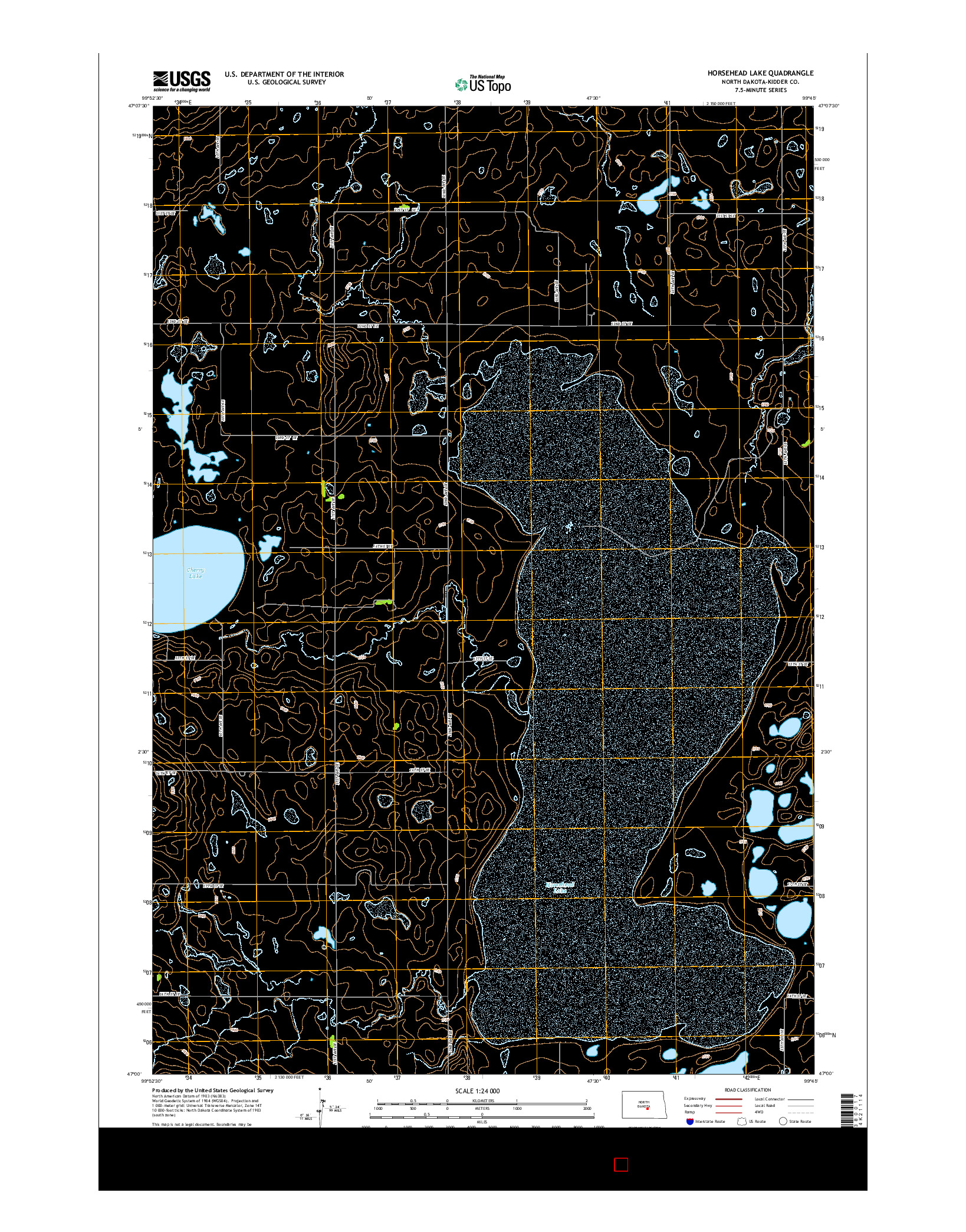 USGS US TOPO 7.5-MINUTE MAP FOR HORSEHEAD LAKE, ND 2014