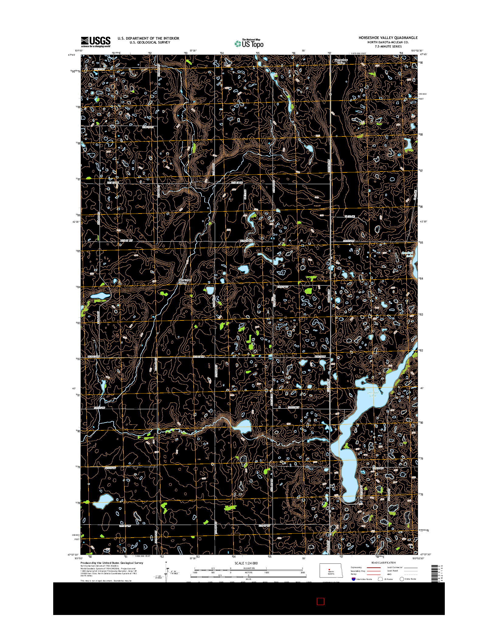 USGS US TOPO 7.5-MINUTE MAP FOR HORSESHOE VALLEY, ND 2014