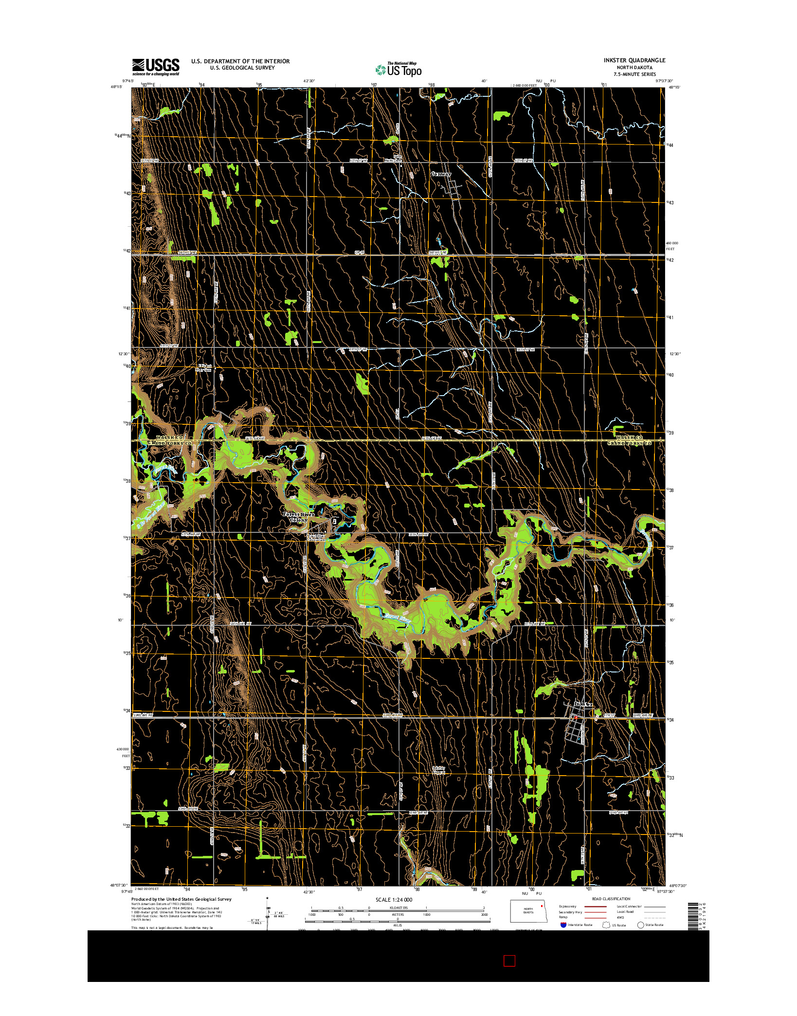 USGS US TOPO 7.5-MINUTE MAP FOR INKSTER, ND 2014