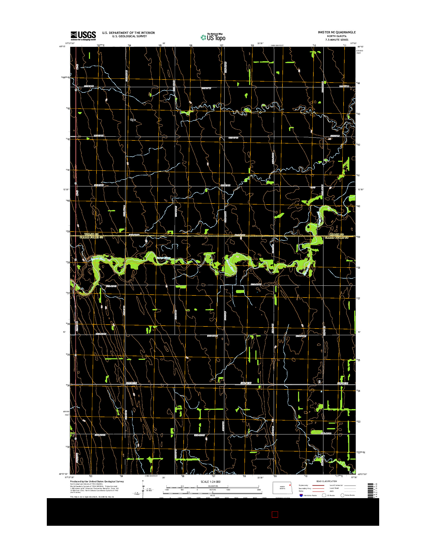 USGS US TOPO 7.5-MINUTE MAP FOR INKSTER NE, ND 2014