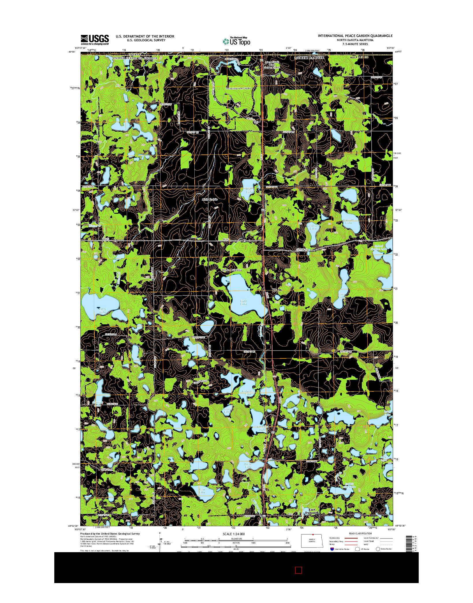 USGS US TOPO 7.5-MINUTE MAP FOR INTERNATIONAL PEACE GARDEN, ND-MB 2014