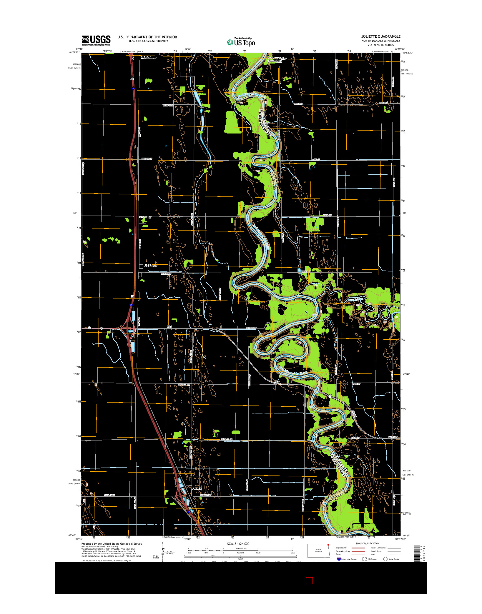 USGS US TOPO 7.5-MINUTE MAP FOR JOLIETTE, ND-MN 2014