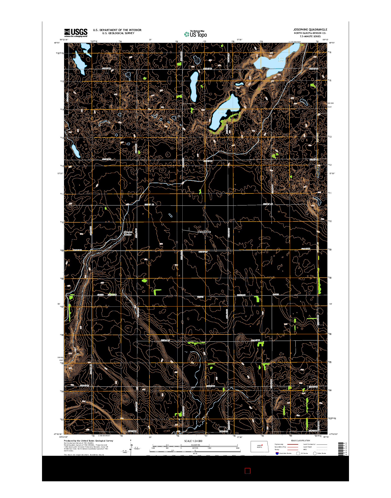 USGS US TOPO 7.5-MINUTE MAP FOR JOSEPHINE, ND 2014