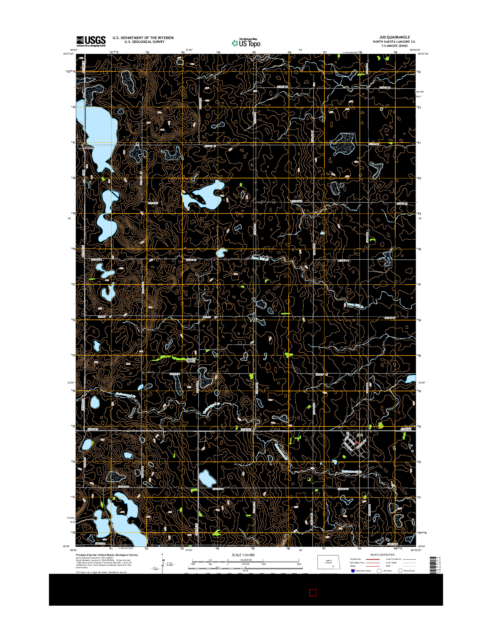 USGS US TOPO 7.5-MINUTE MAP FOR JUD, ND 2014