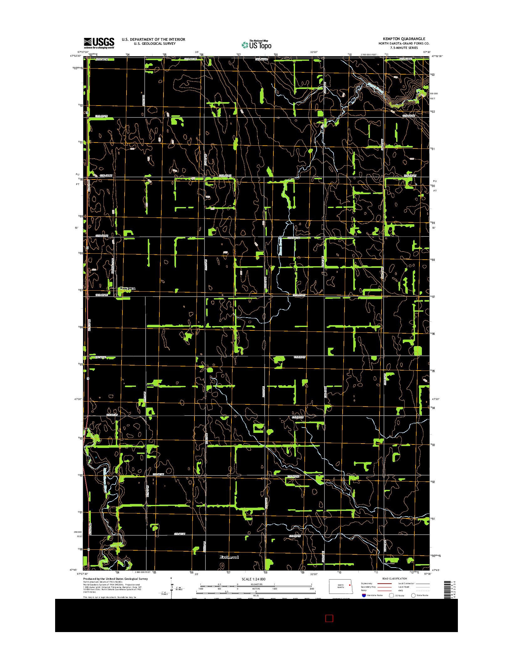USGS US TOPO 7.5-MINUTE MAP FOR KEMPTON, ND 2014
