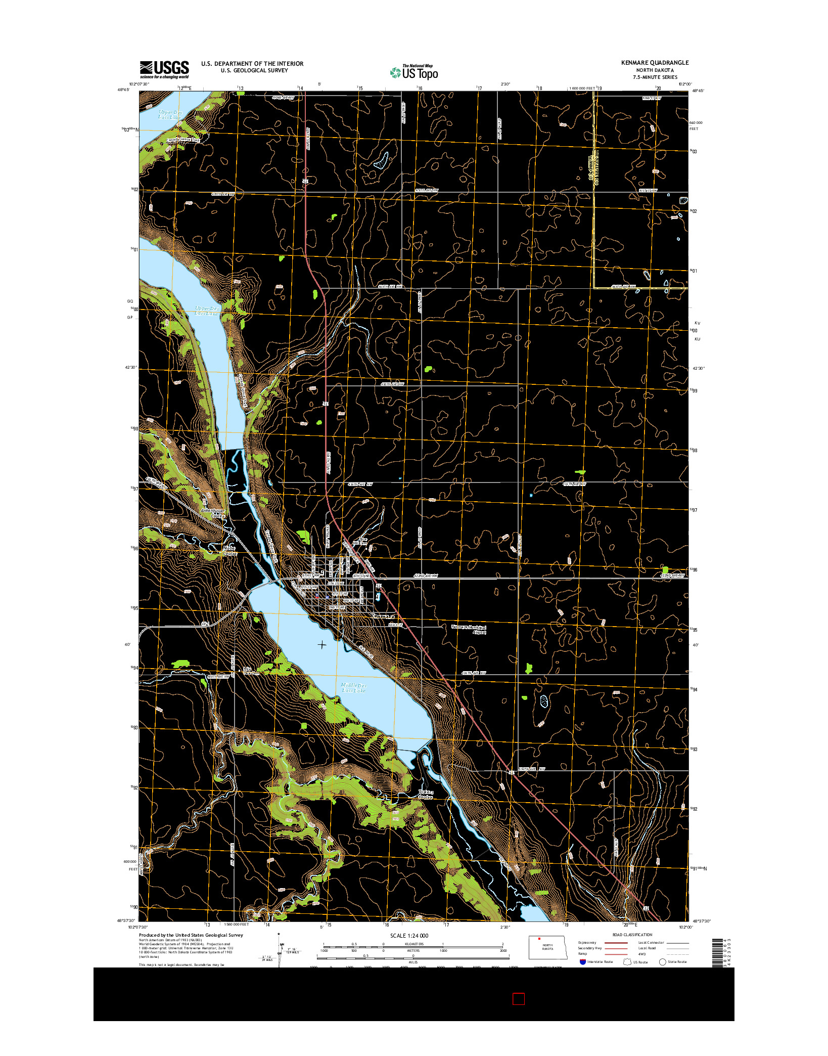 USGS US TOPO 7.5-MINUTE MAP FOR KENMARE, ND 2014