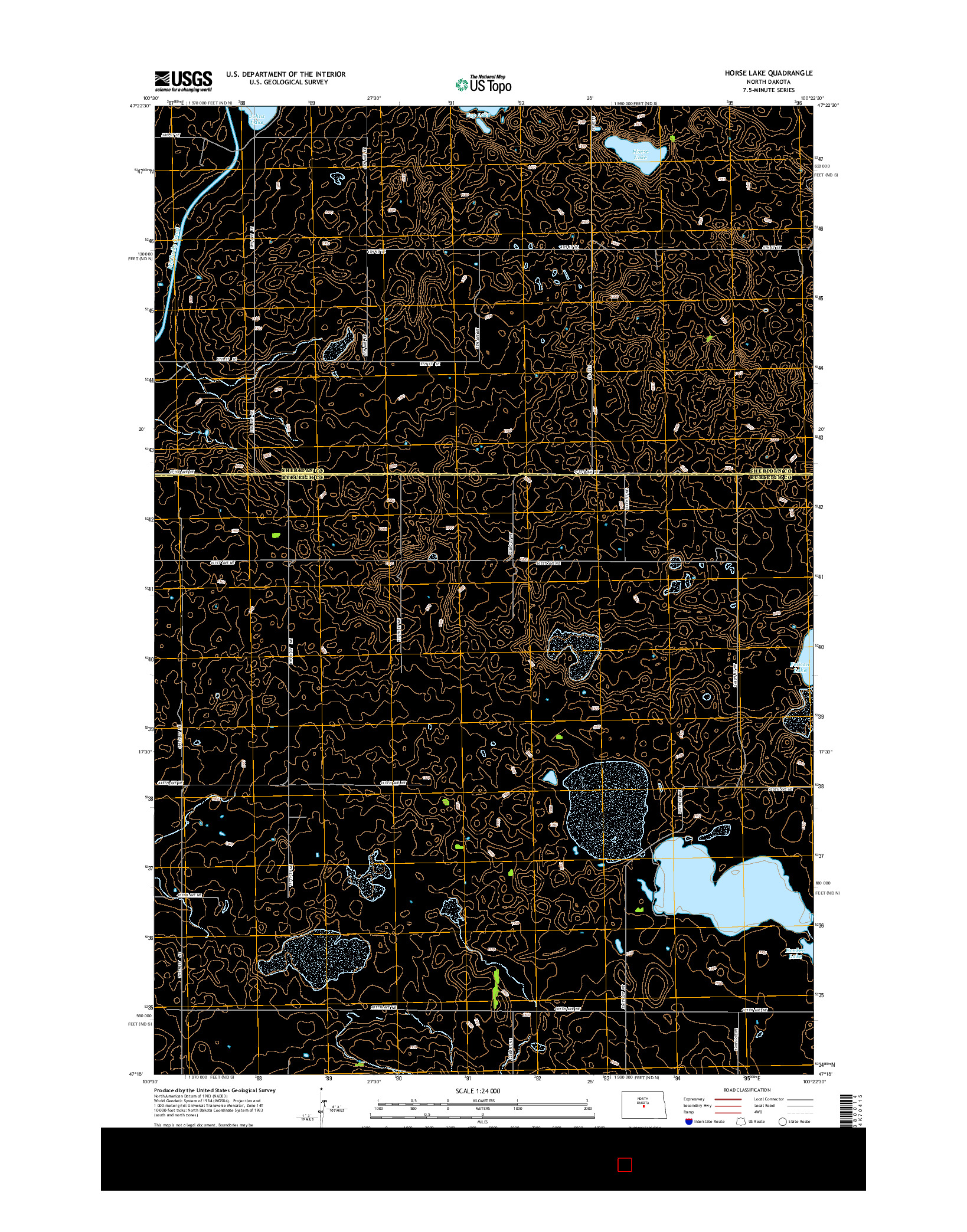 USGS US TOPO 7.5-MINUTE MAP FOR HORSE LAKE, ND 2014