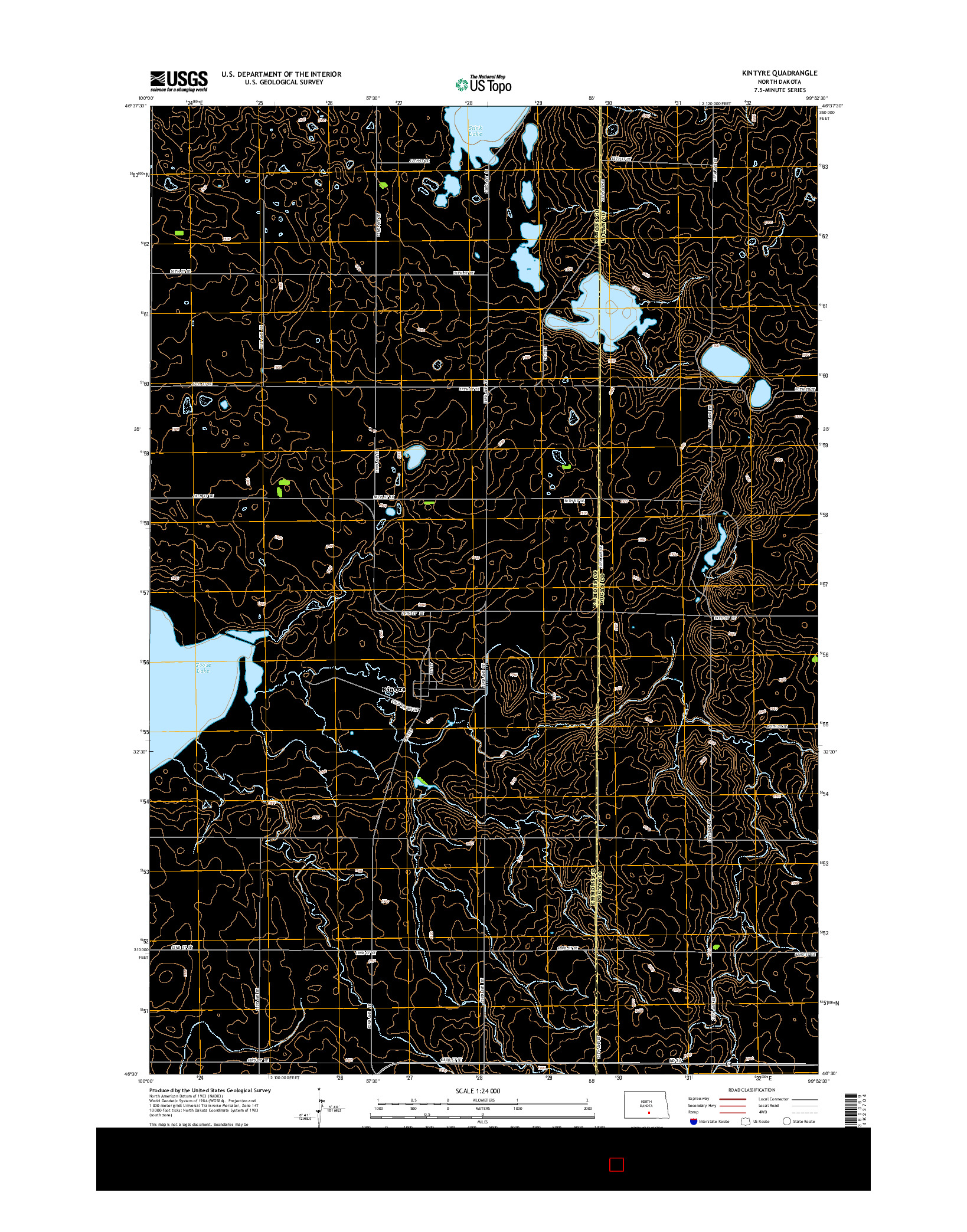 USGS US TOPO 7.5-MINUTE MAP FOR KINTYRE, ND 2014