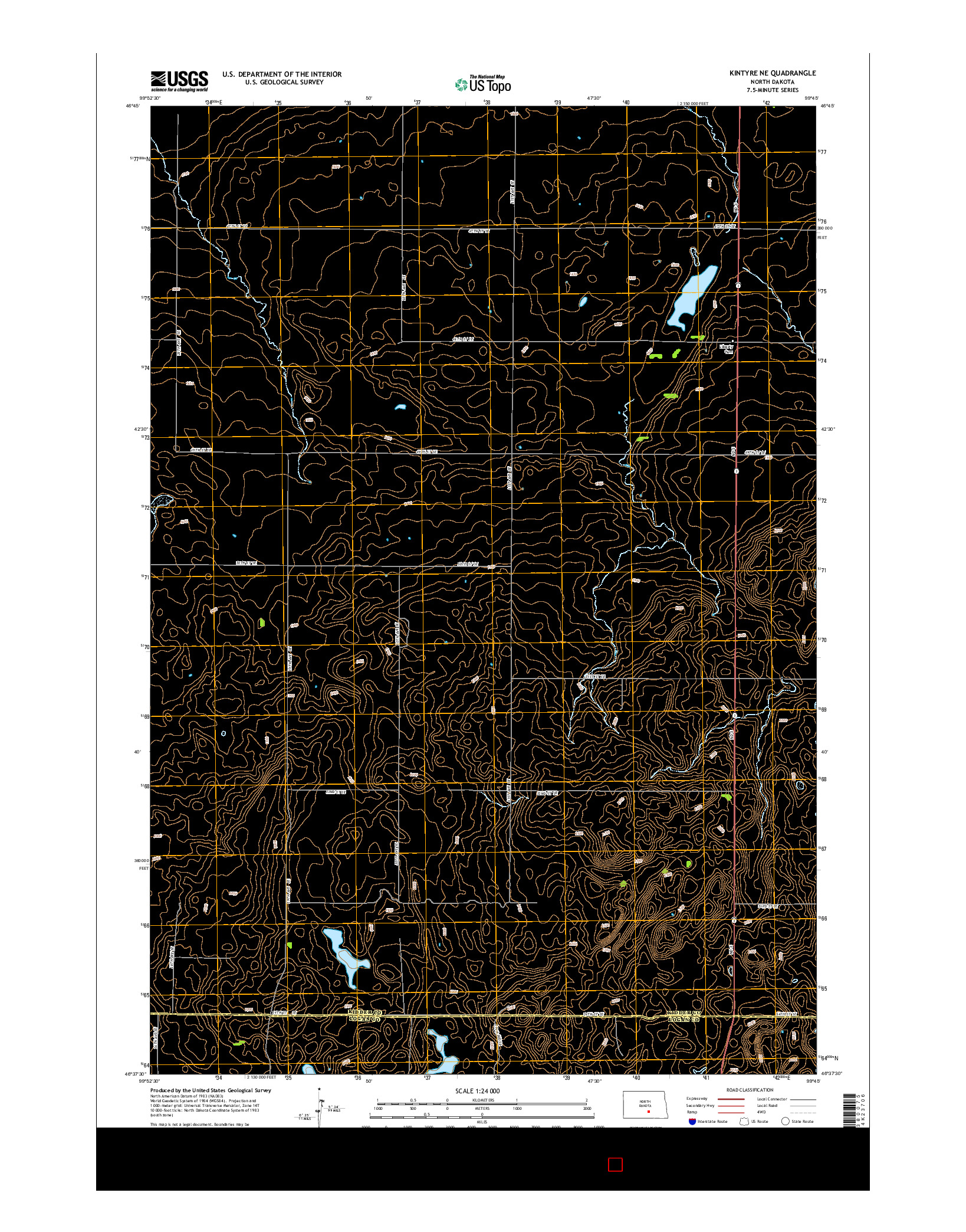 USGS US TOPO 7.5-MINUTE MAP FOR KINTYRE NE, ND 2014