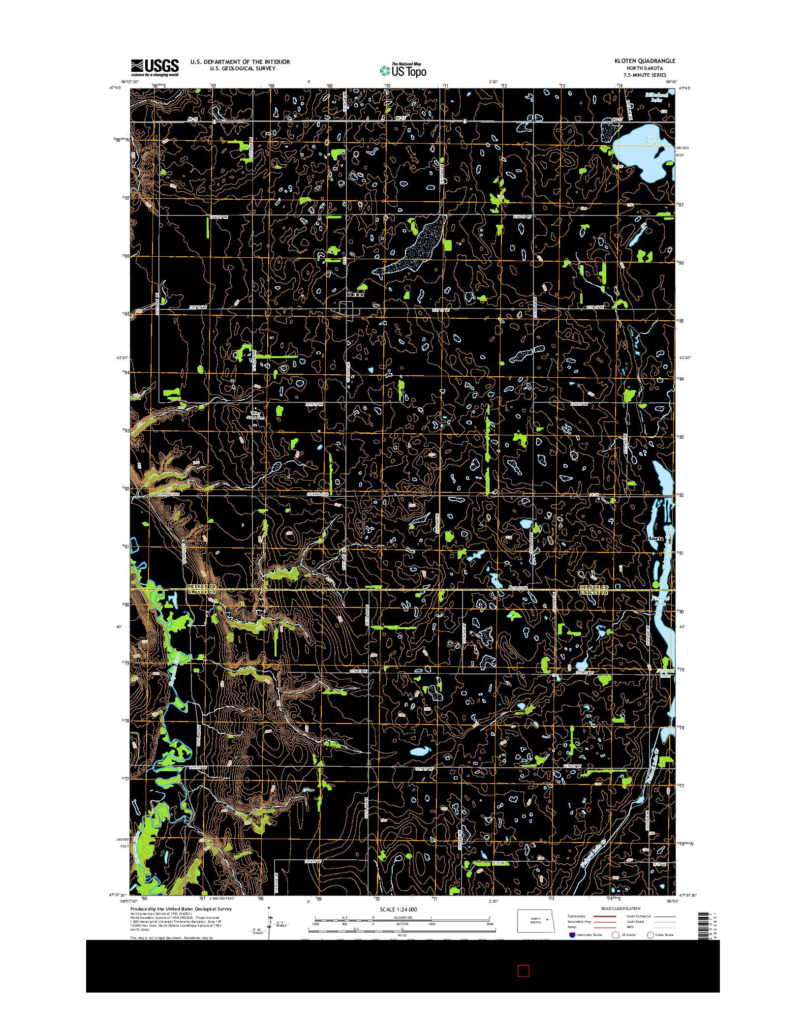 USGS US TOPO 7.5-MINUTE MAP FOR KLOTEN, ND 2014
