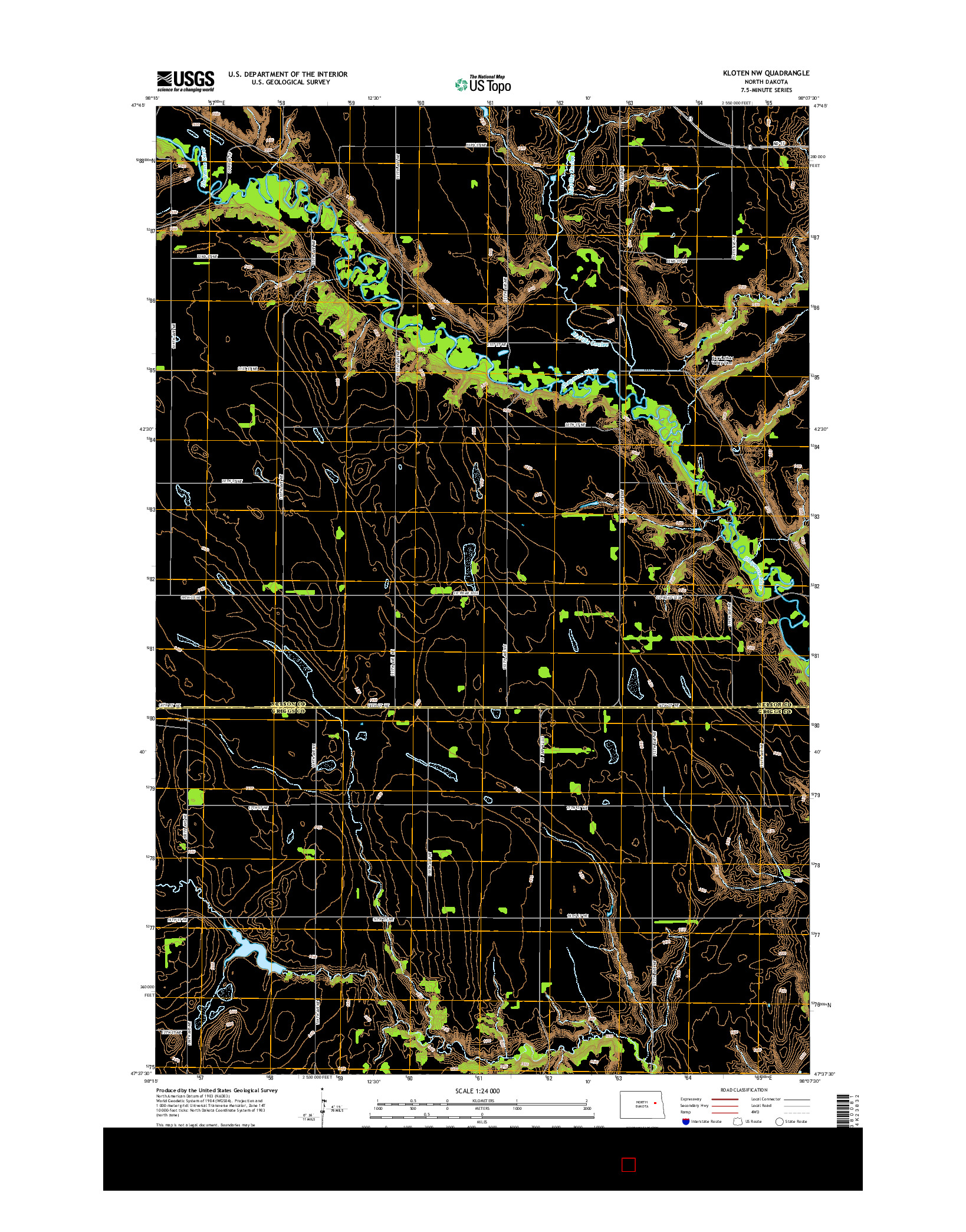 USGS US TOPO 7.5-MINUTE MAP FOR KLOTEN NW, ND 2014