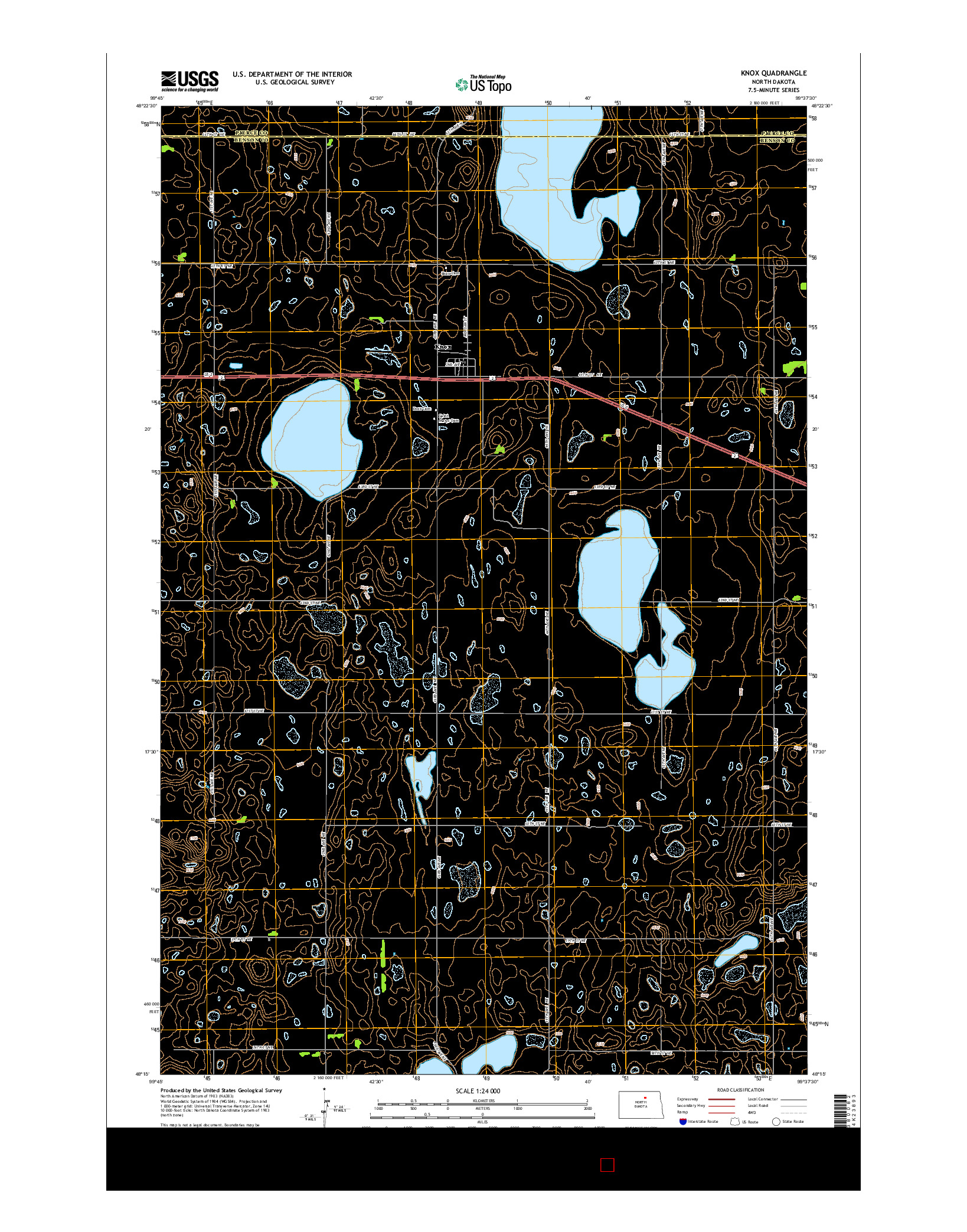USGS US TOPO 7.5-MINUTE MAP FOR KNOX, ND 2014