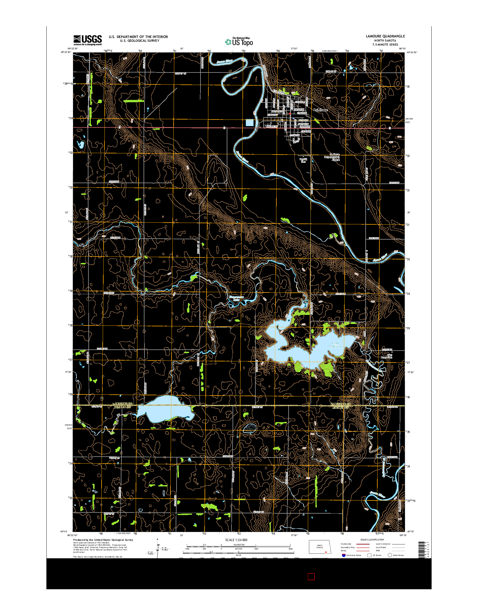 USGS US TOPO 7.5-MINUTE MAP FOR LAMOURE, ND 2014