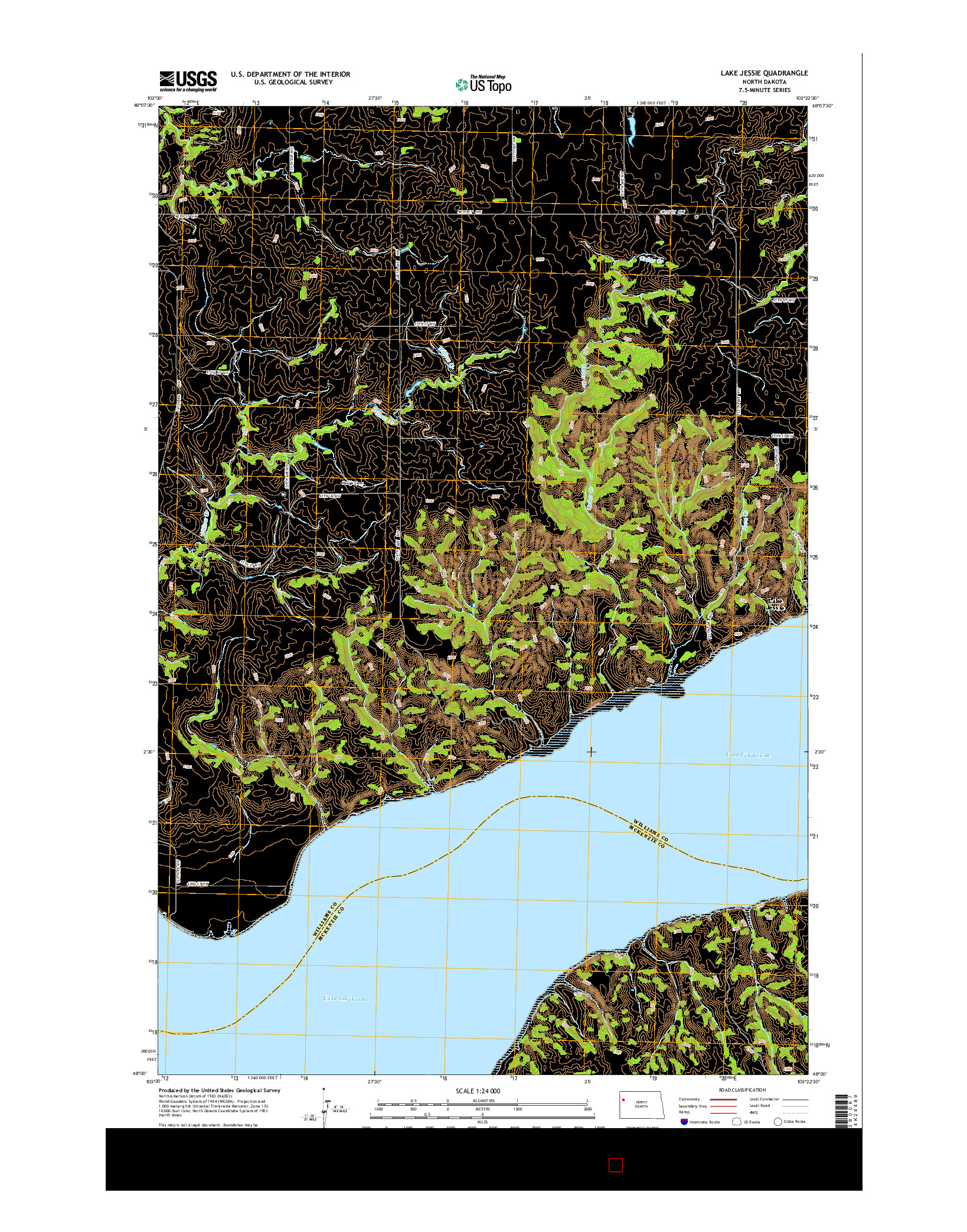 USGS US TOPO 7.5-MINUTE MAP FOR LAKE JESSIE, ND 2014
