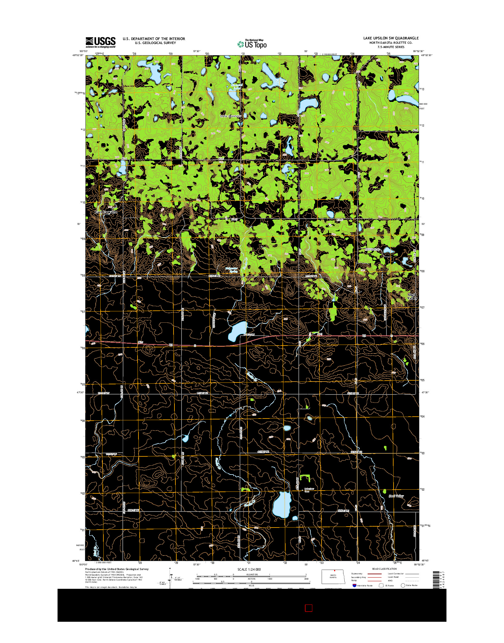 USGS US TOPO 7.5-MINUTE MAP FOR LAKE UPSILON SW, ND 2014