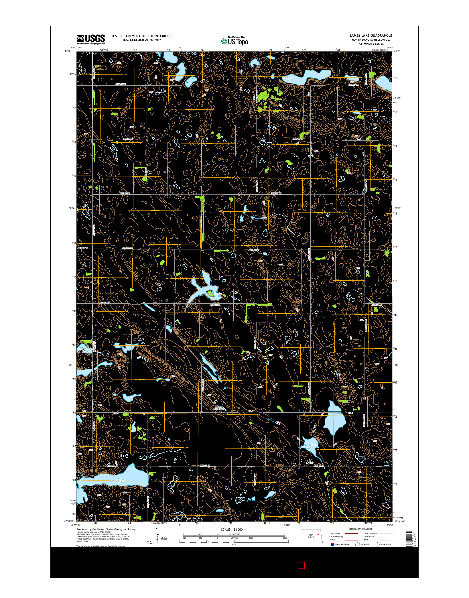 USGS US TOPO 7.5-MINUTE MAP FOR LAMBS LAKE, ND 2014