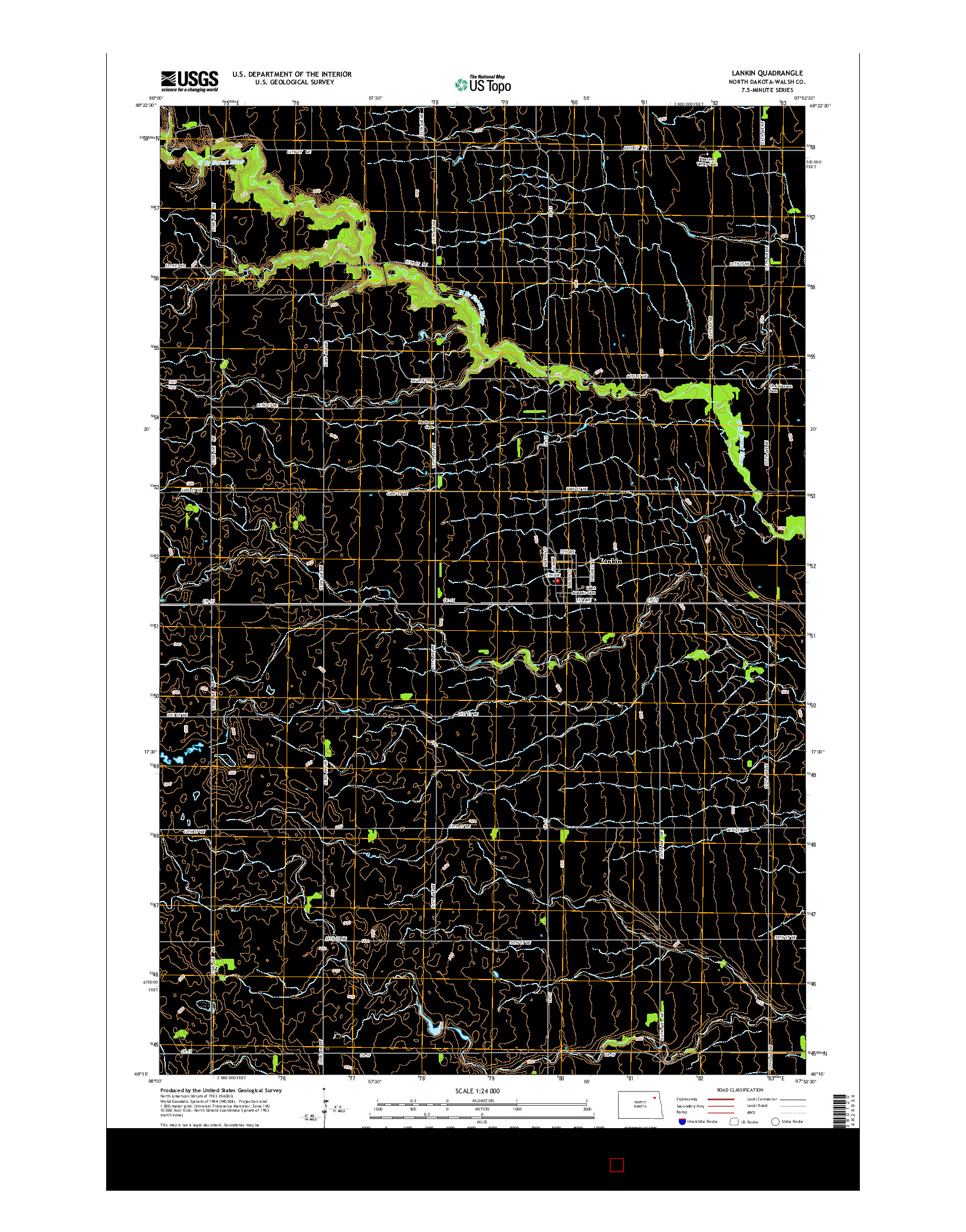 USGS US TOPO 7.5-MINUTE MAP FOR LANKIN, ND 2014