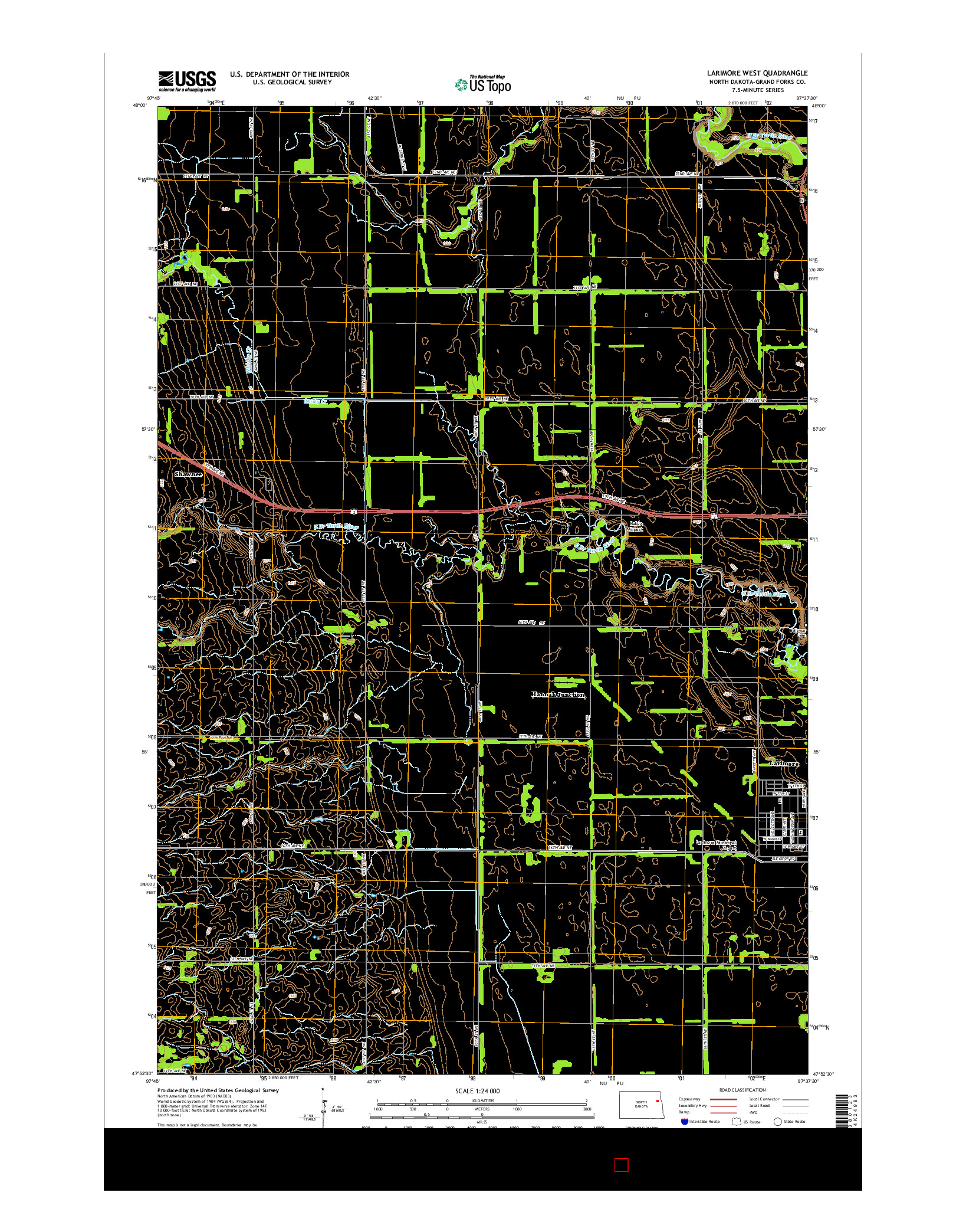 USGS US TOPO 7.5-MINUTE MAP FOR LARIMORE WEST, ND 2014