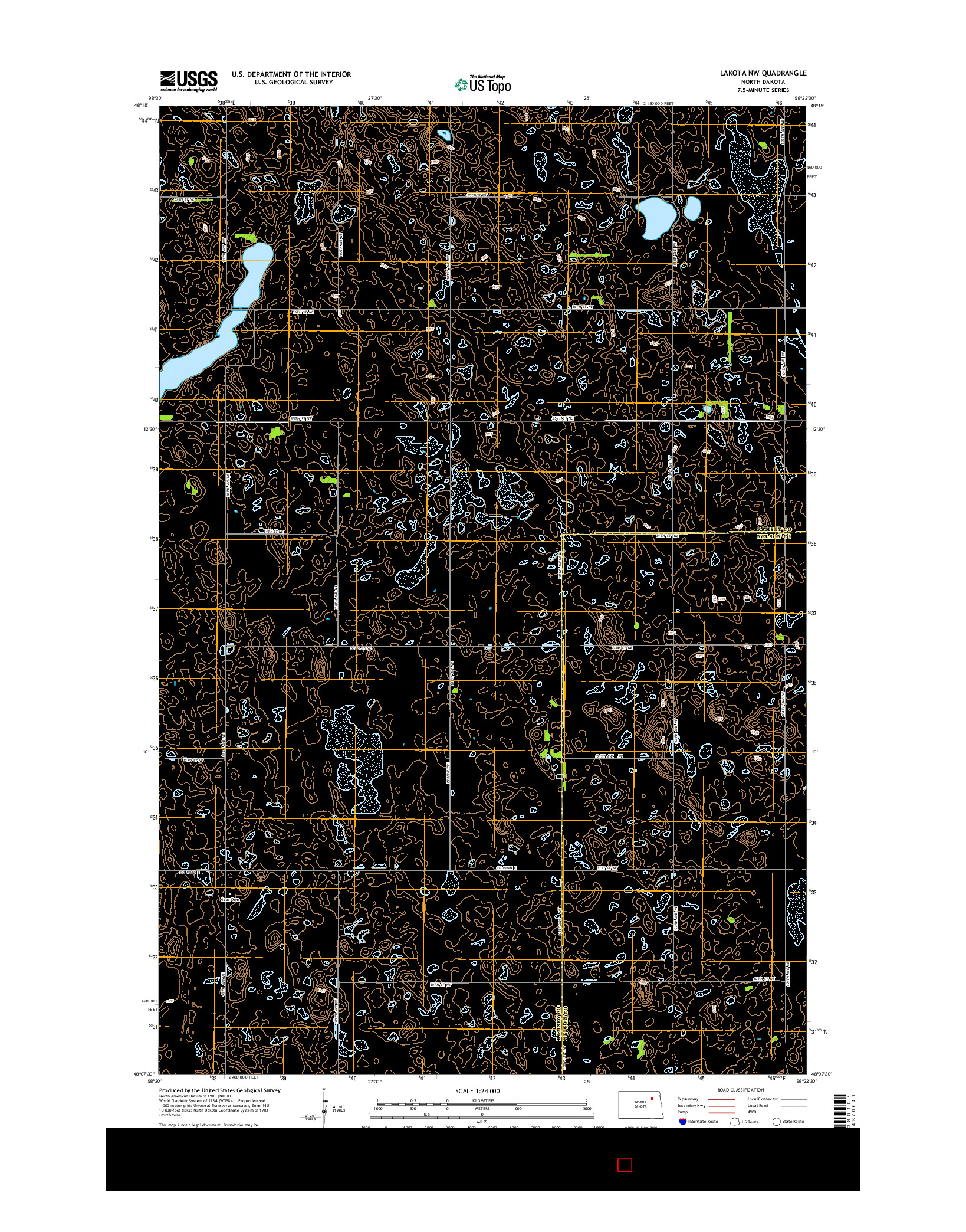 USGS US TOPO 7.5-MINUTE MAP FOR LAKOTA NW, ND 2014