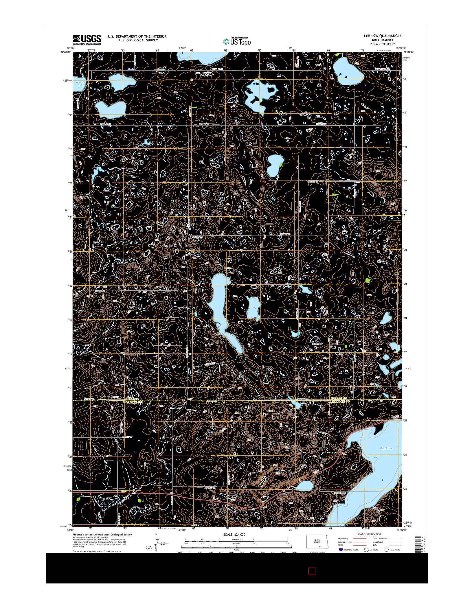 USGS US TOPO 7.5-MINUTE MAP FOR LEHR SW, ND 2014