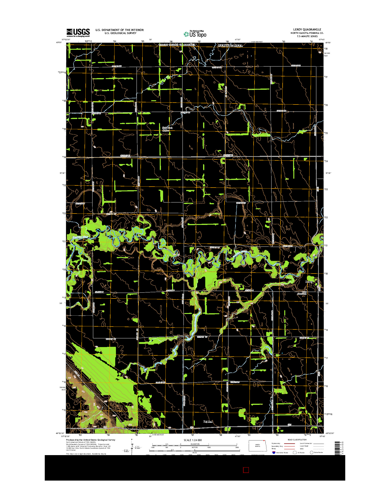 USGS US TOPO 7.5-MINUTE MAP FOR LEROY, ND 2014