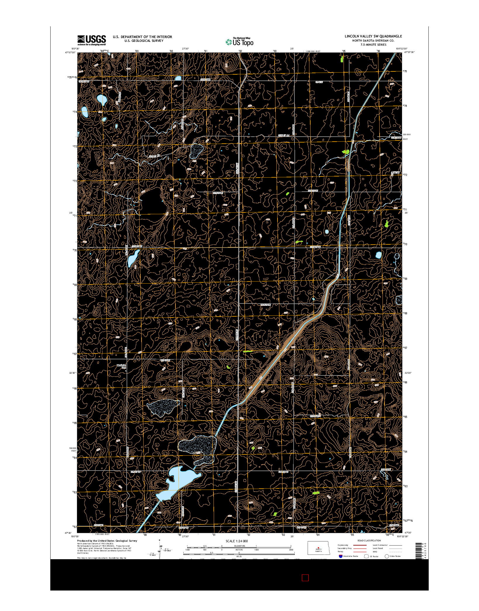 USGS US TOPO 7.5-MINUTE MAP FOR LINCOLN VALLEY SW, ND 2014