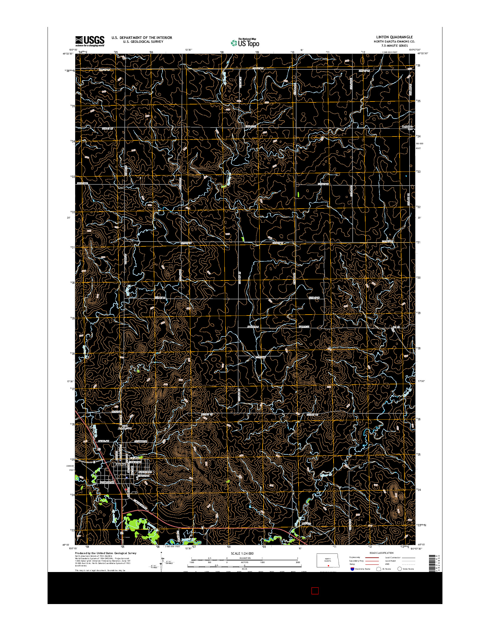 USGS US TOPO 7.5-MINUTE MAP FOR LINTON, ND 2014