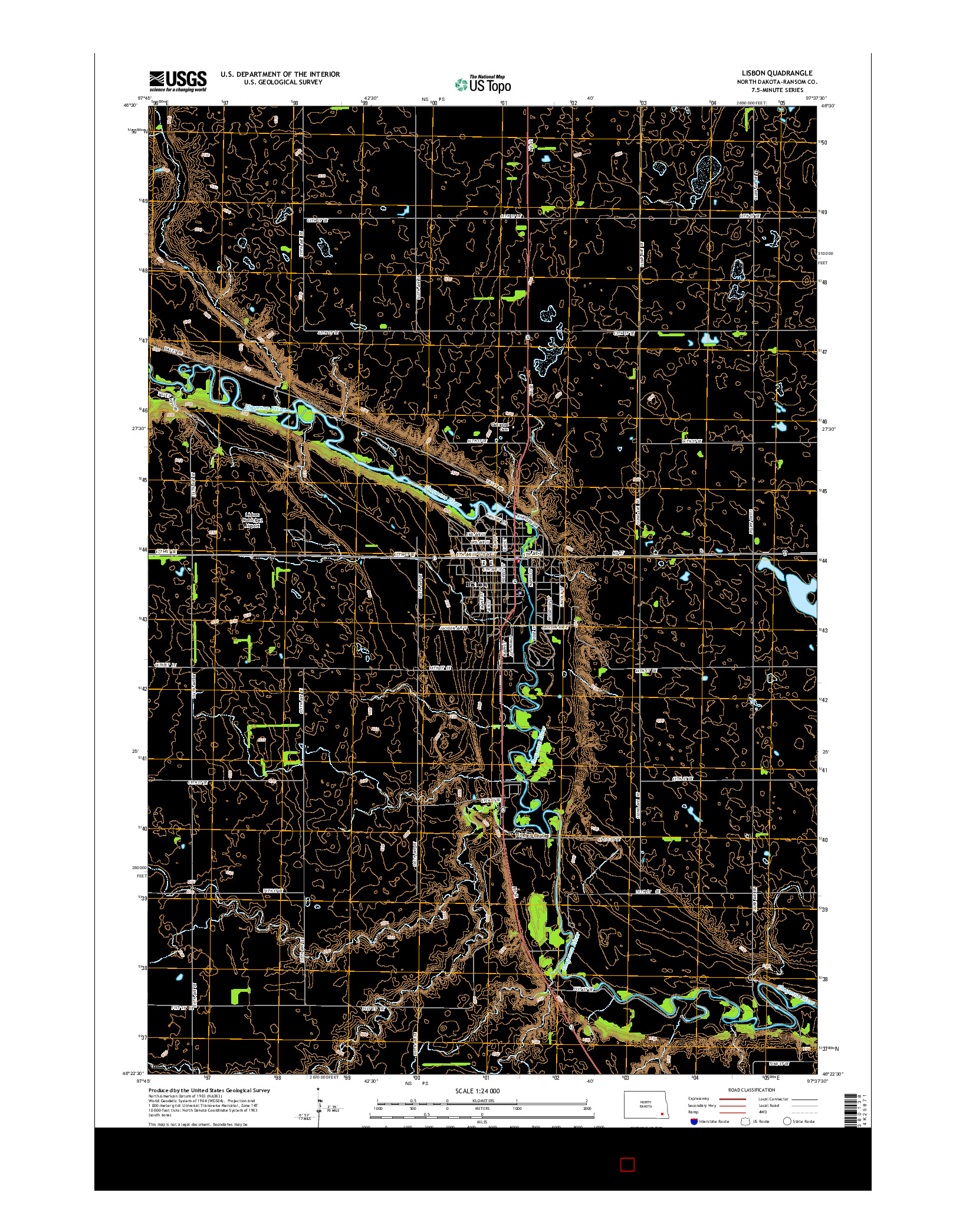USGS US TOPO 7.5-MINUTE MAP FOR LISBON, ND 2014