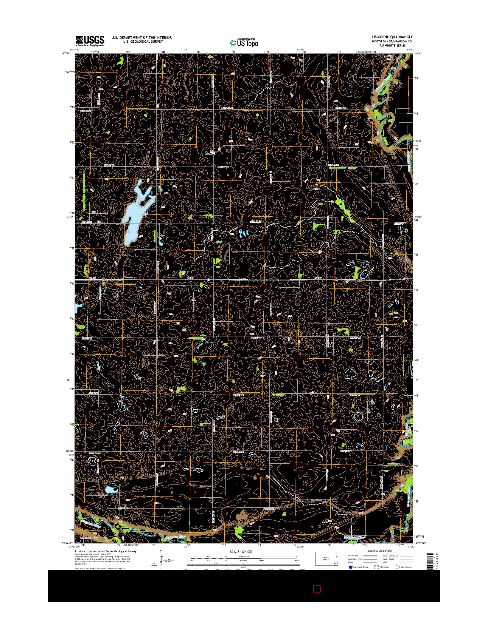 USGS US TOPO 7.5-MINUTE MAP FOR LISBON NE, ND 2014