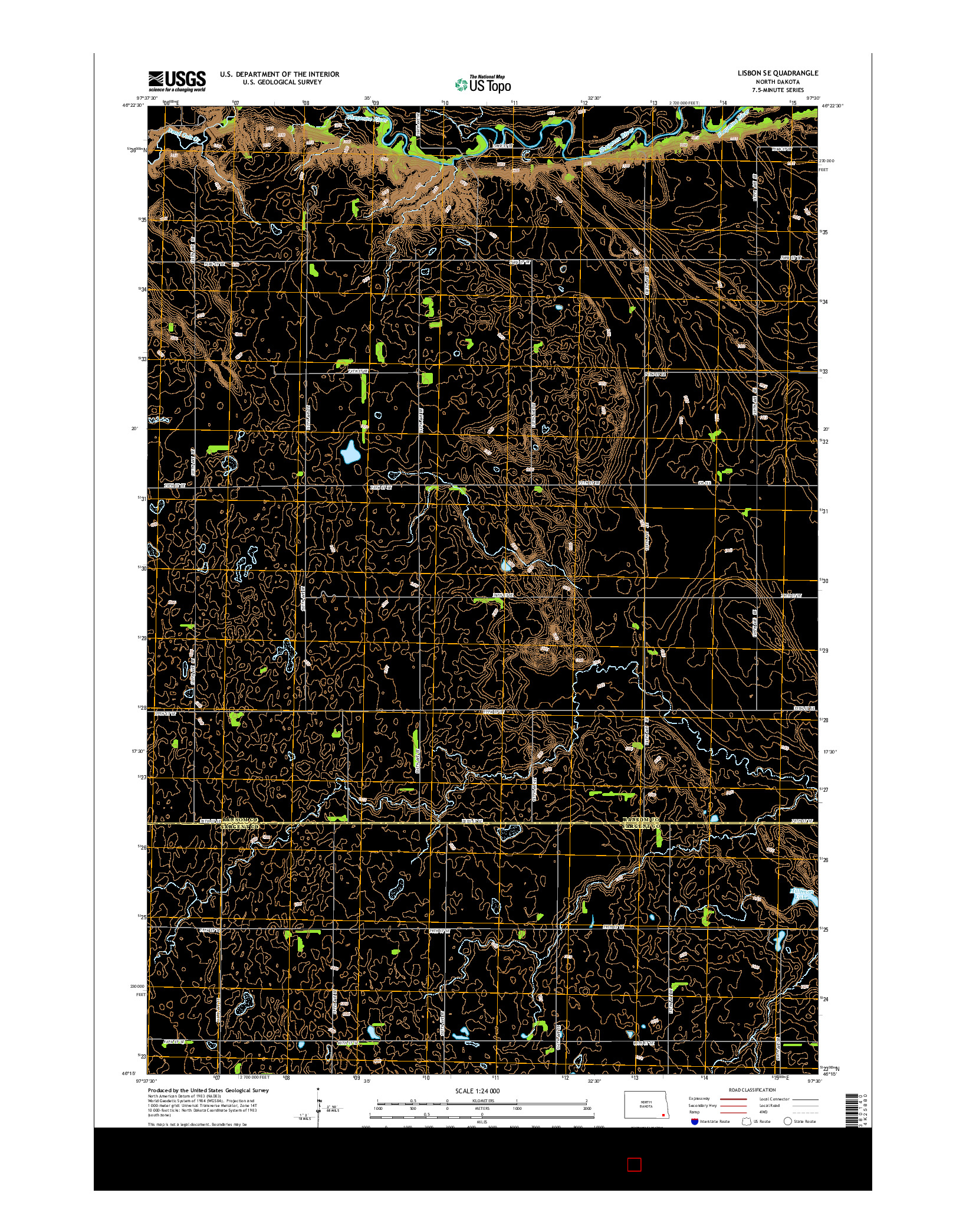 USGS US TOPO 7.5-MINUTE MAP FOR LISBON SE, ND 2014