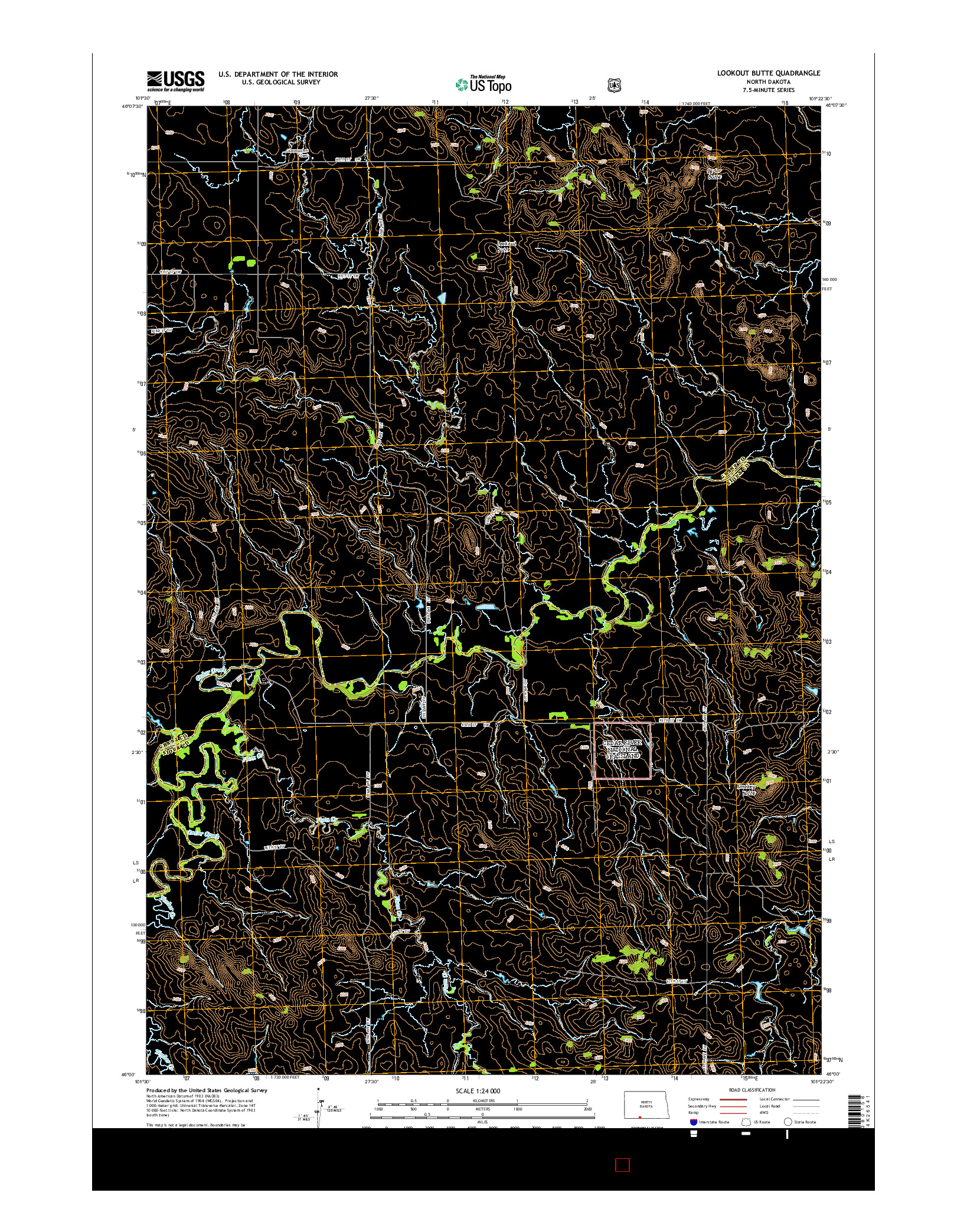 USGS US TOPO 7.5-MINUTE MAP FOR LOOKOUT BUTTE, ND 2014