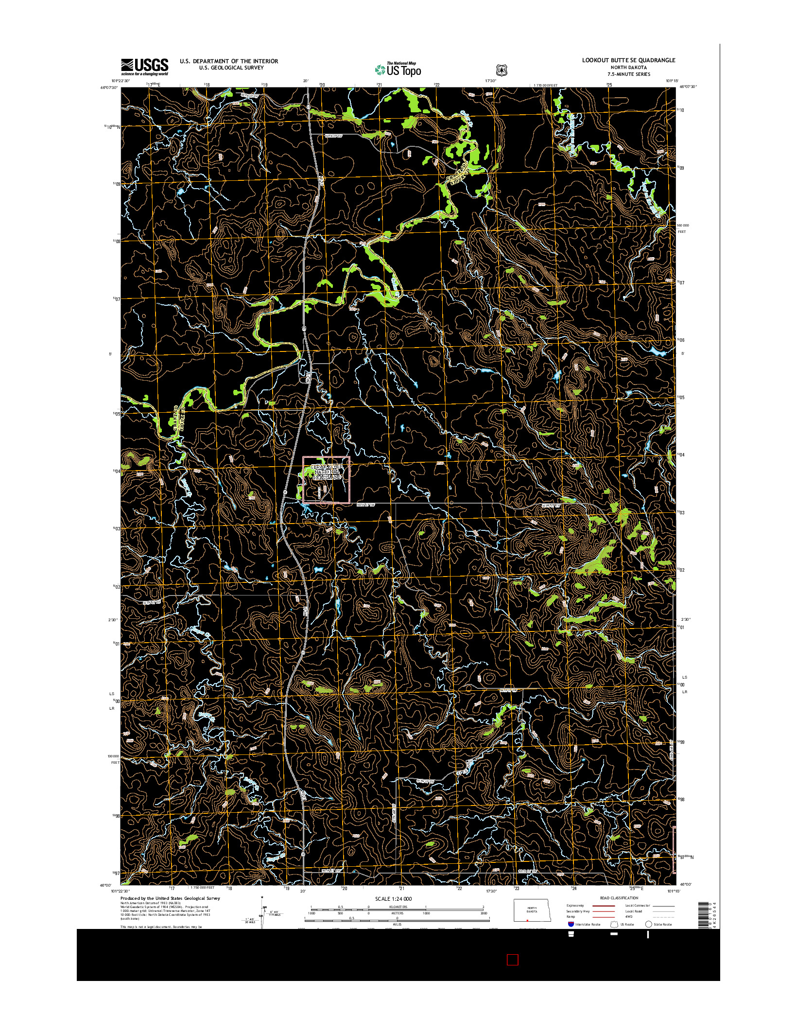USGS US TOPO 7.5-MINUTE MAP FOR LOOKOUT BUTTE SE, ND 2014